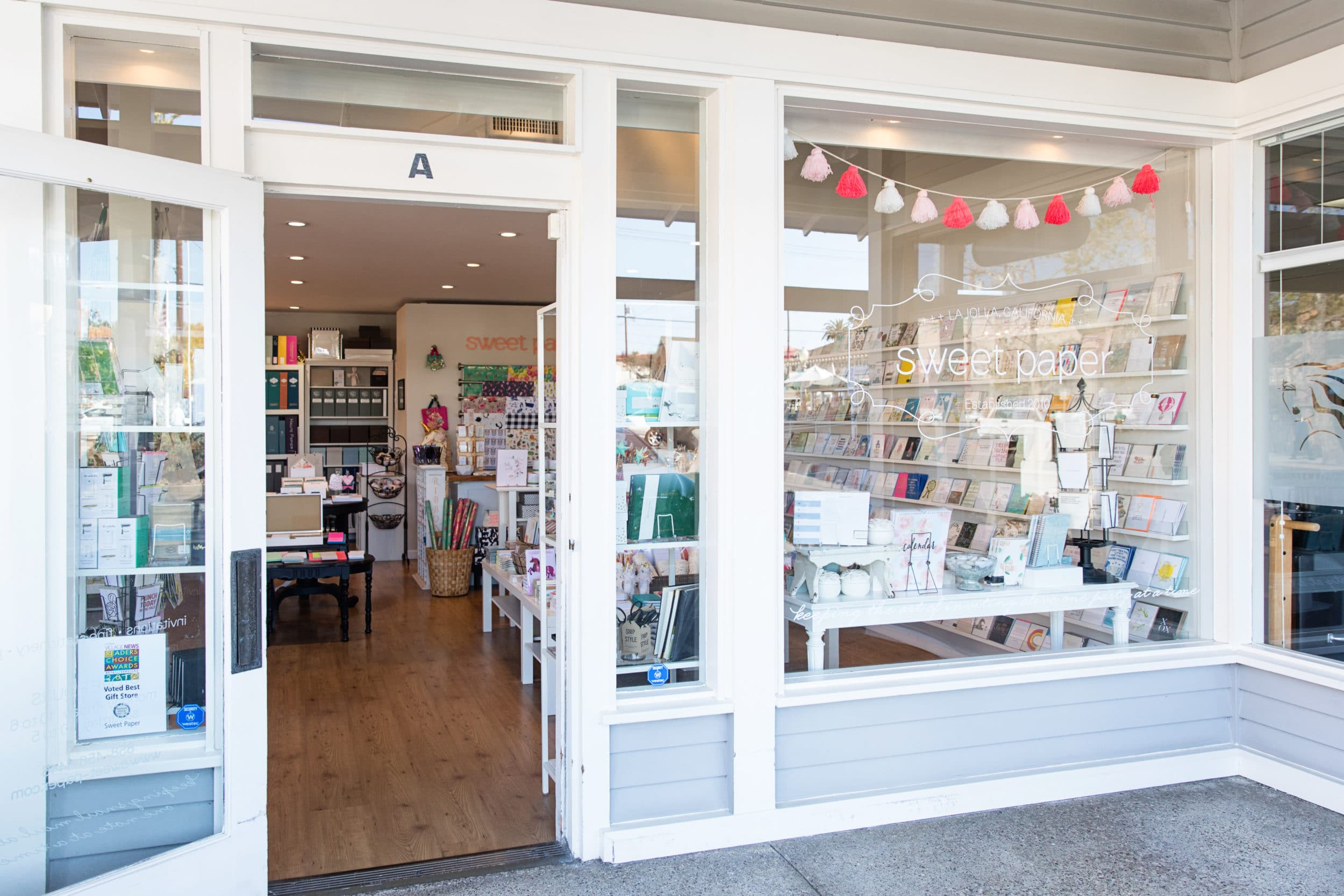 Best La Jolla shopping: The exterior of the Sweet Paper gift shop on Fay Avenue.