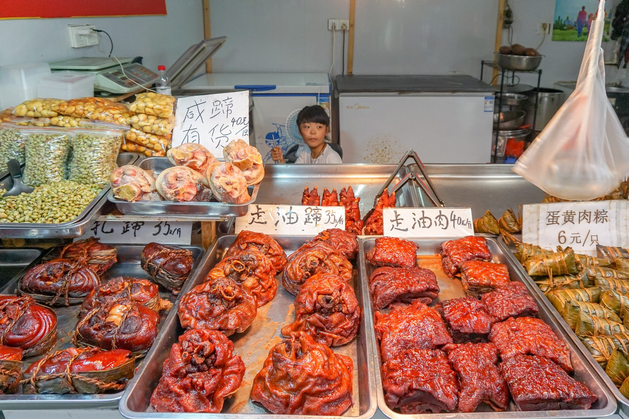Meat for sale at Zhujiajiao water town near Shanghai