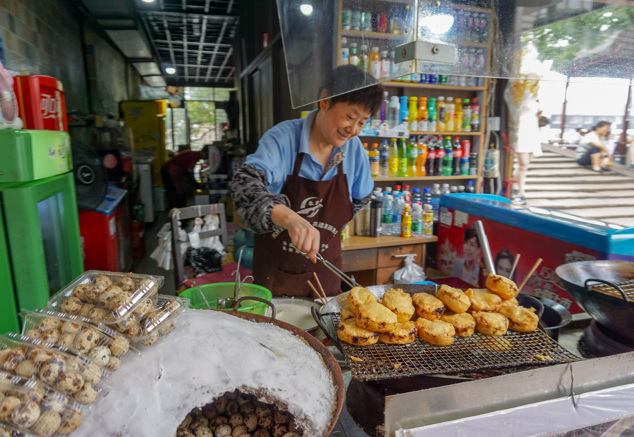 Street snacks at Zhujiajiao, a day trip from Shanghai