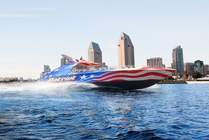 Take a thrill ride on the San Diego Bay with Flagship's Patriot Jet Boat