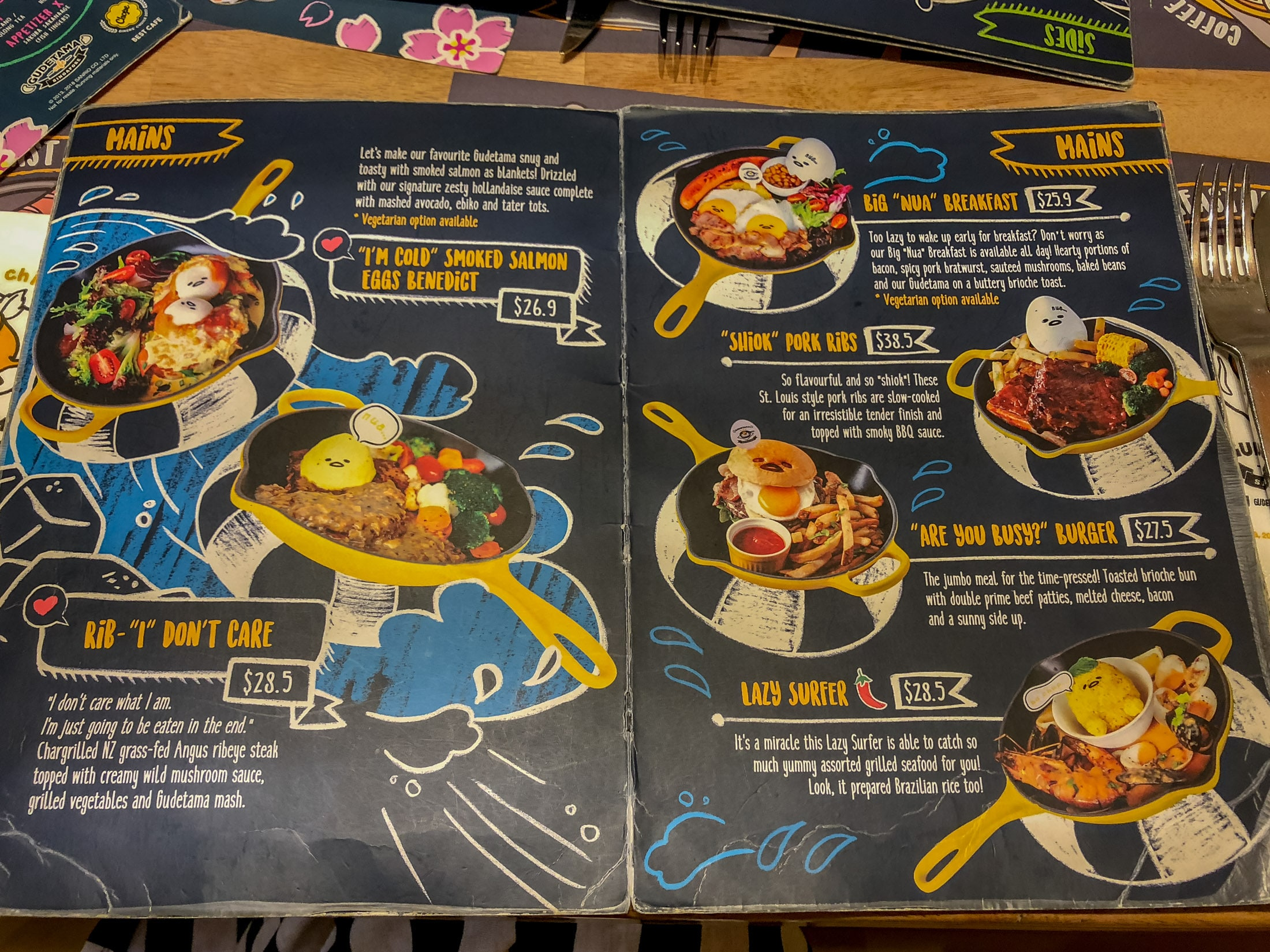 Gudetama Singapore Cafe menu