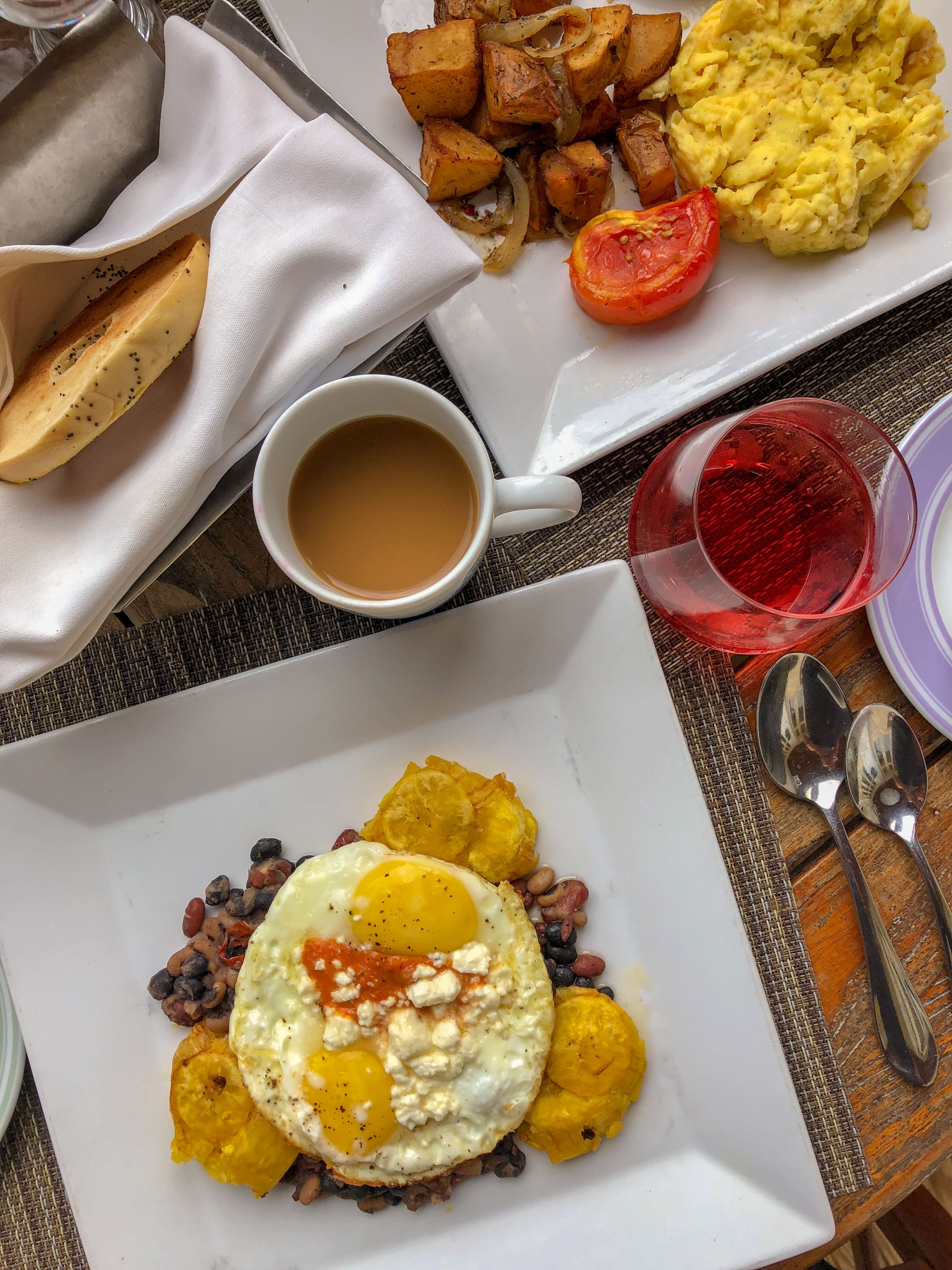 San Juan Sunrise (fried Plantain, Beans, Queso Fresco, Sunny Side up Eggs) at Four Seasons Nevis