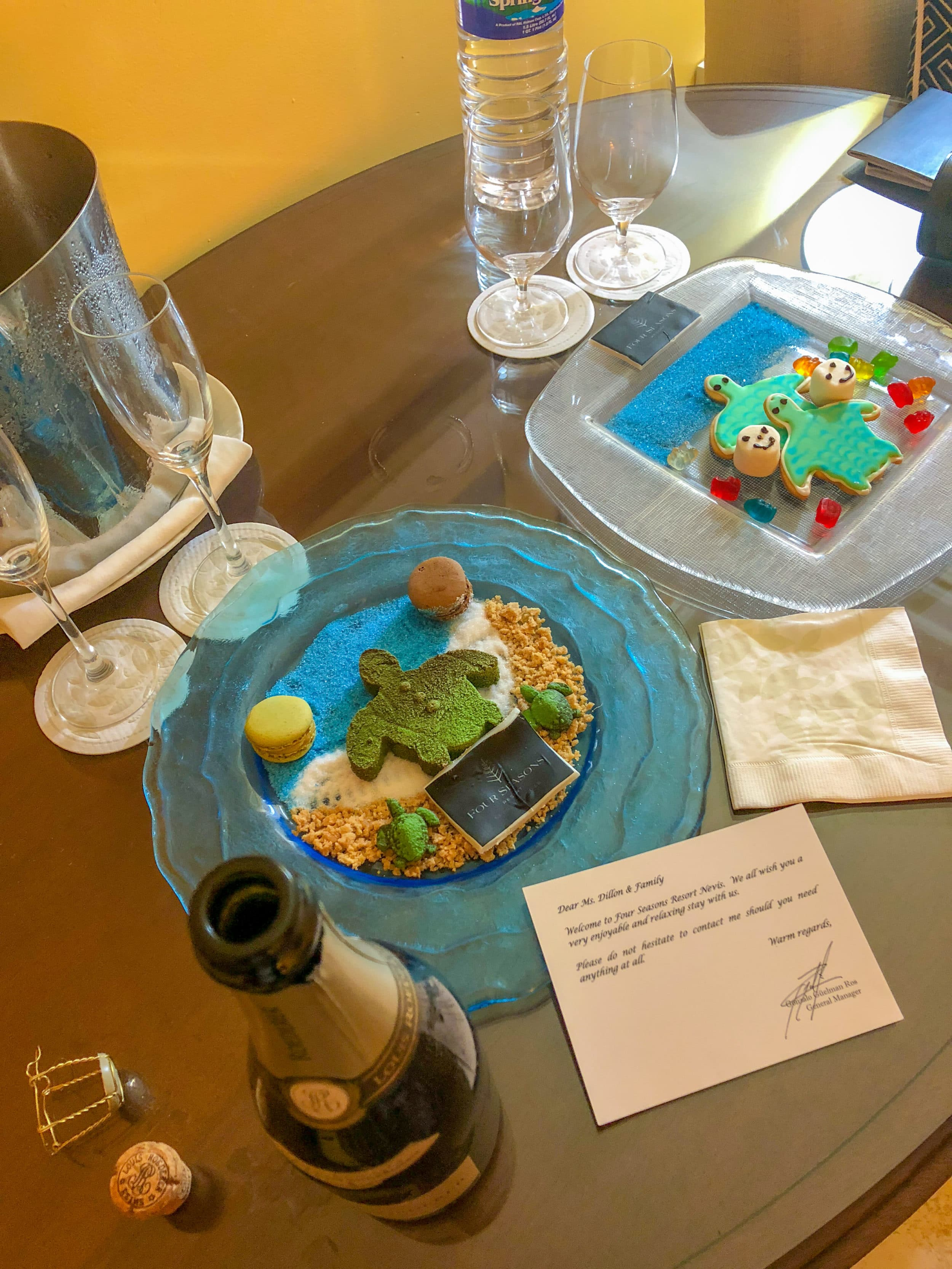 Sea turtle themed amenity at Four Seasons Nevis