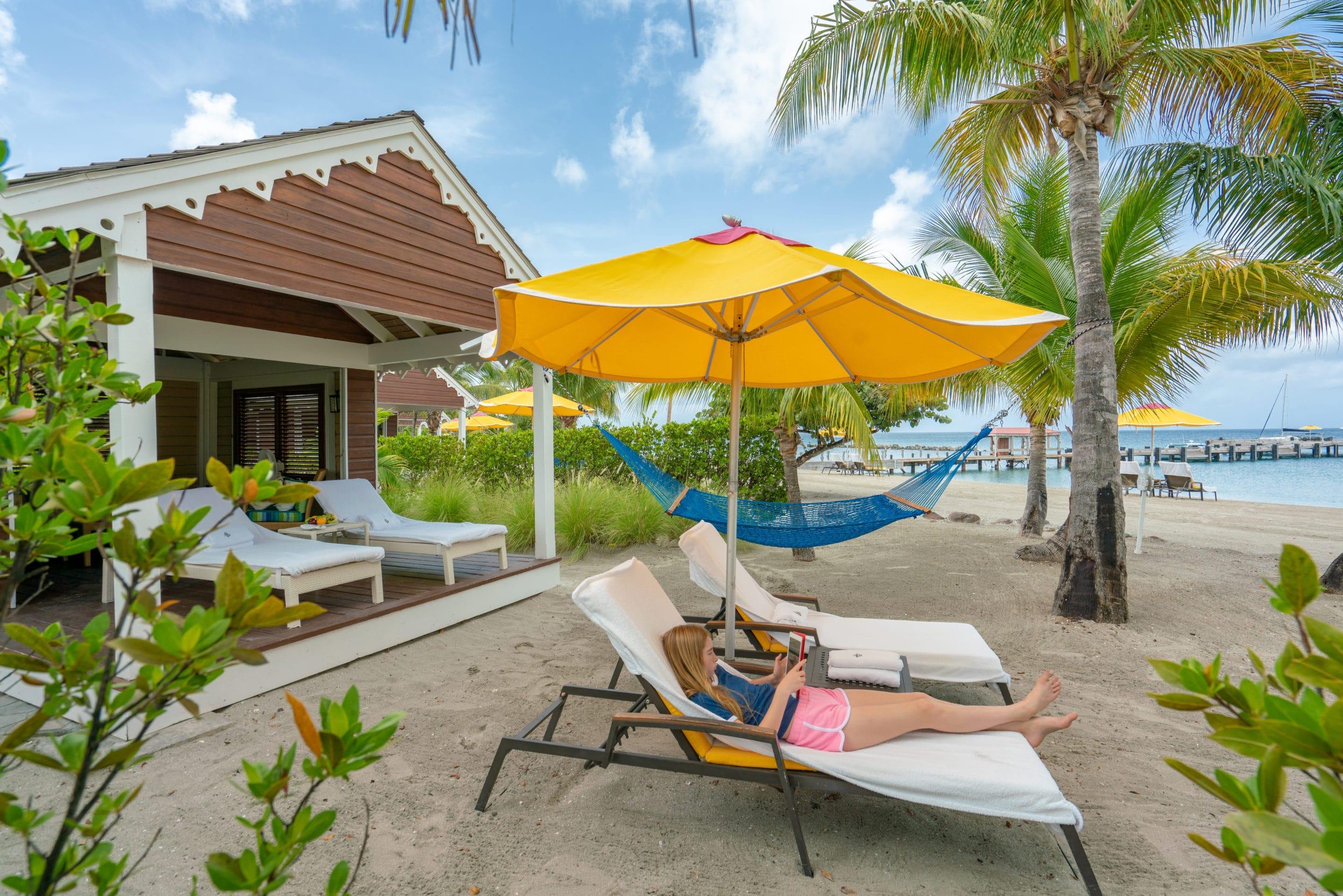 A beach cabana at Four Seasons Nevis