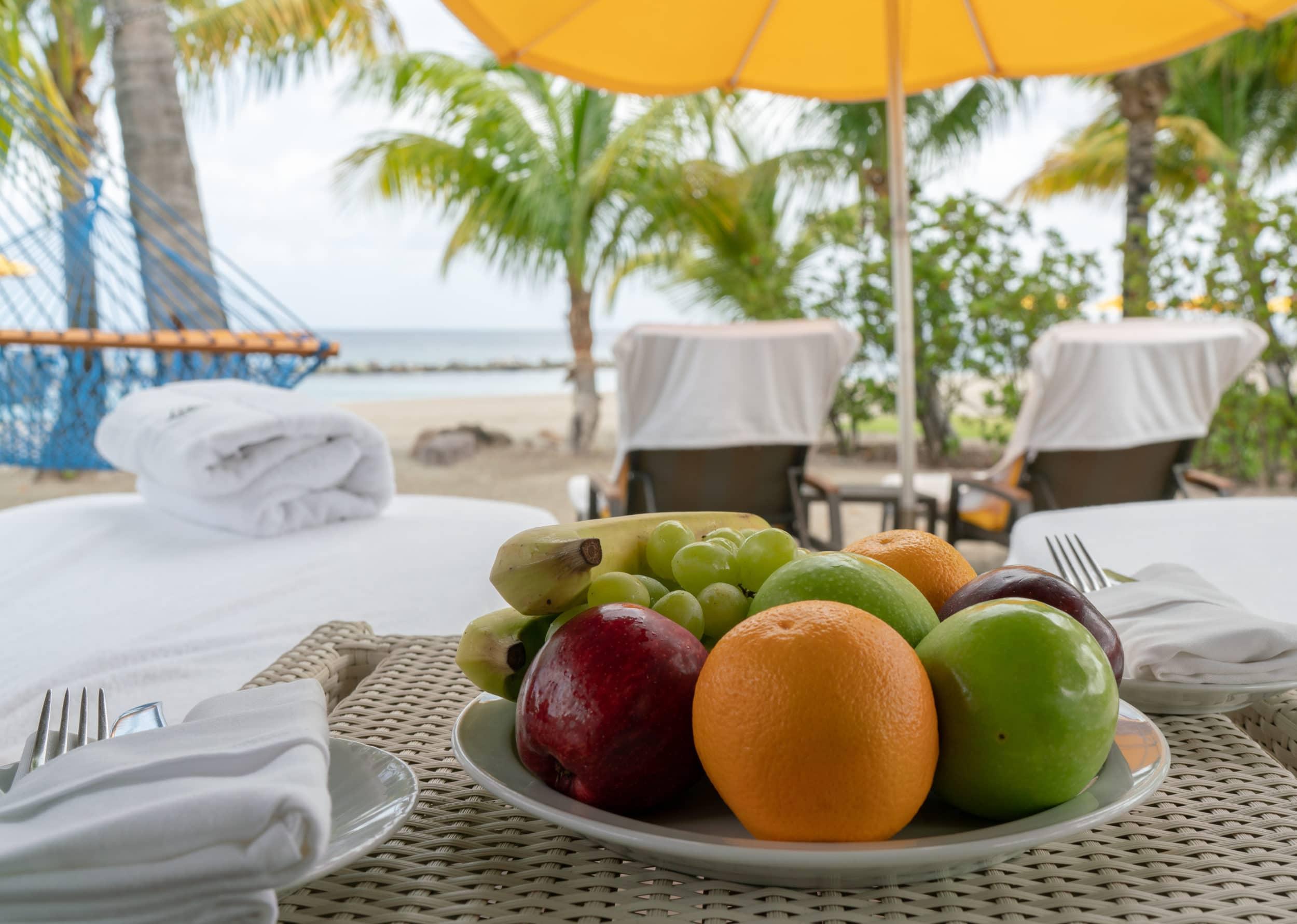 Fruit amenity at Four Seasons Nevis beach cabanas