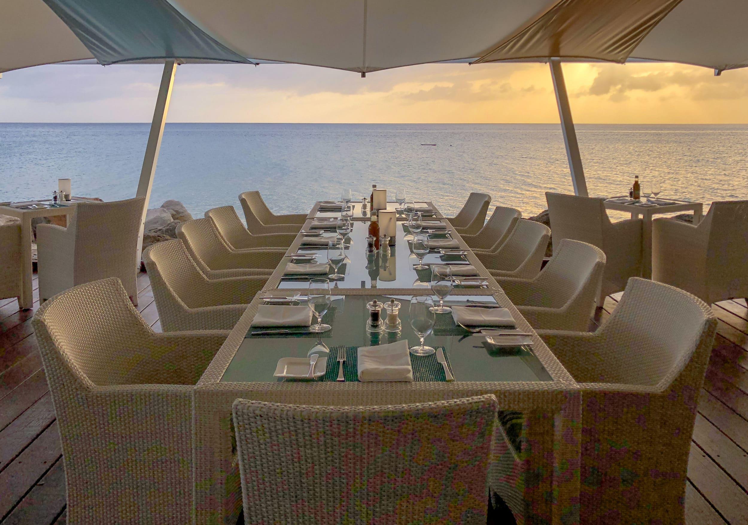 Oceanfront dining at Mango inside Four Seasons Nevis