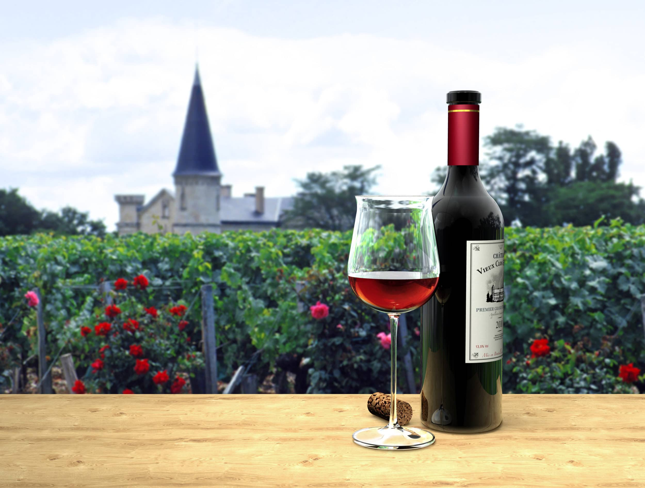 French wine regions: A glass of bordeaux red wine in France.