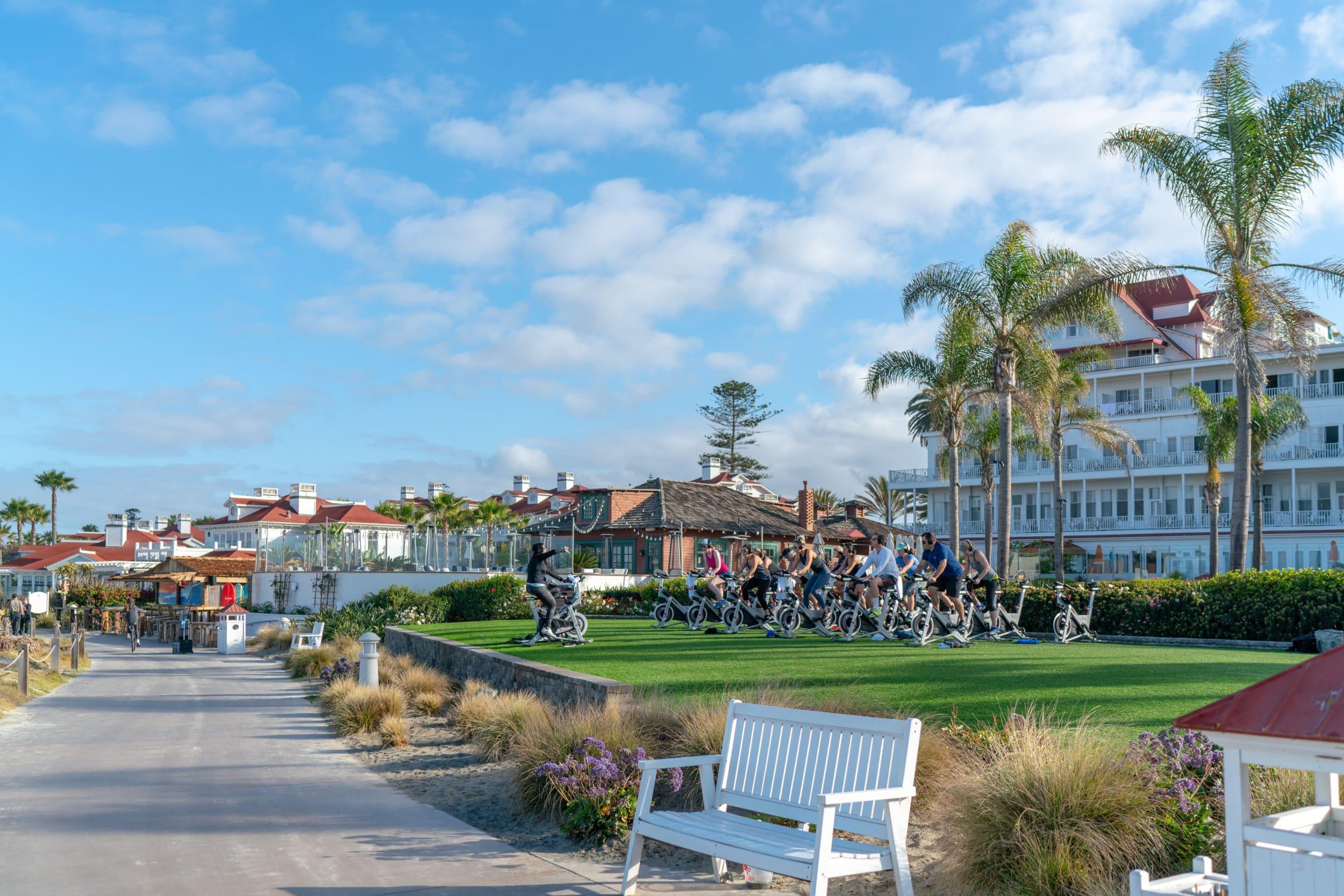 Beach spinning class Hotel Del Coronado
