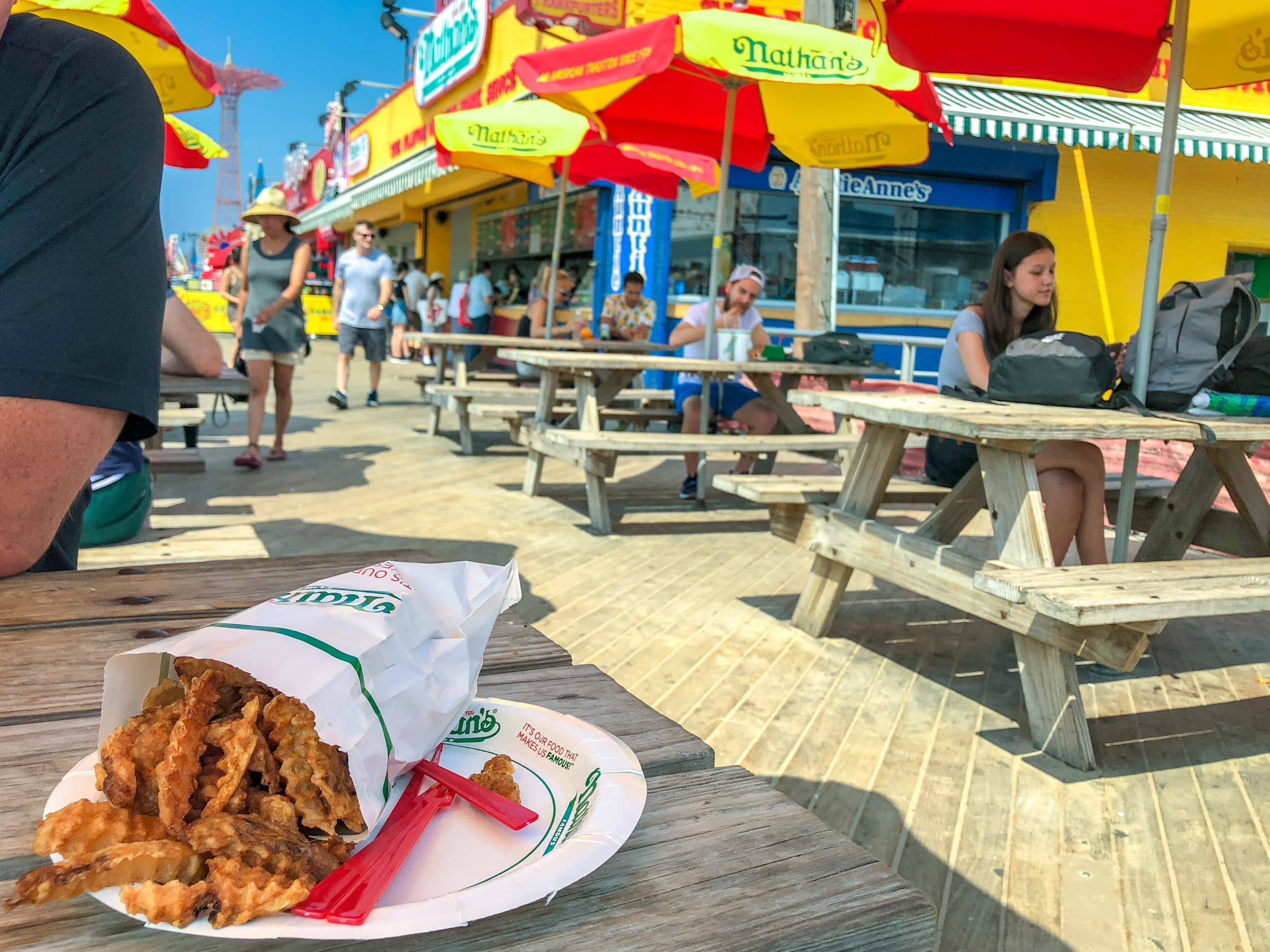 Nathan's hot dogs on the Coney Island Boardwalk