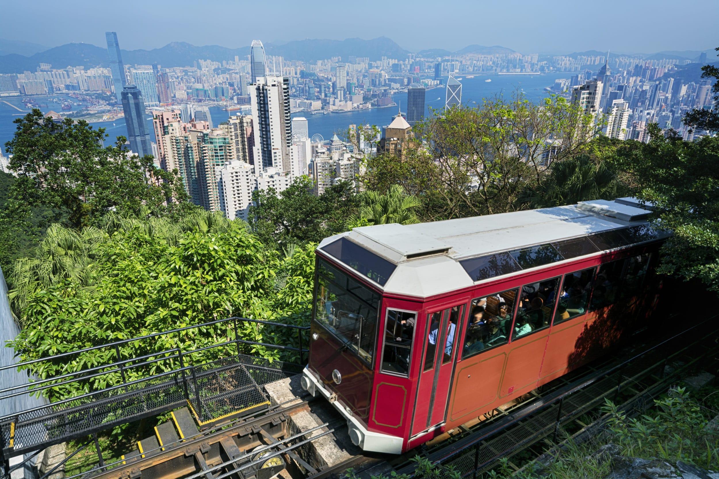 The Peak Tram going uphill