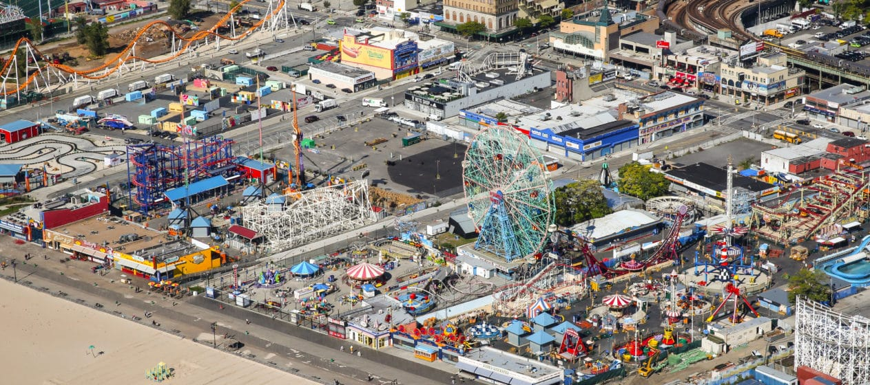 The beach and rides at Coney Island in New York