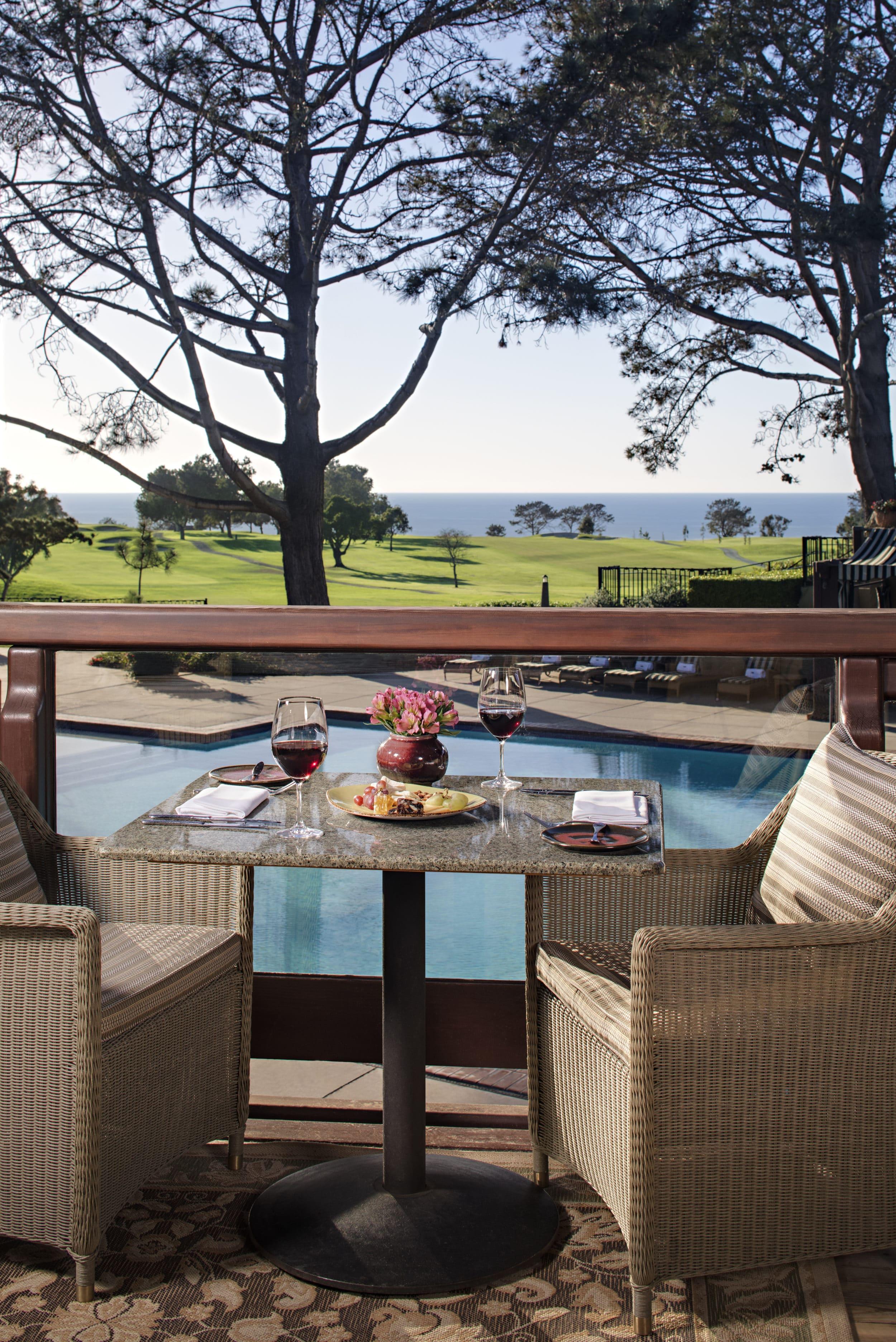 Ocean view terrace at AR Valentien restaurant in La Jolla