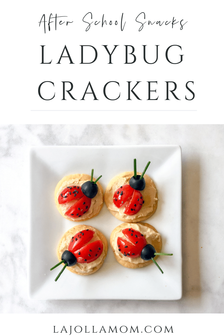 After school snacks: Ladybug crackers with grape tomatoes, hummus and pita crackers by O Organics.