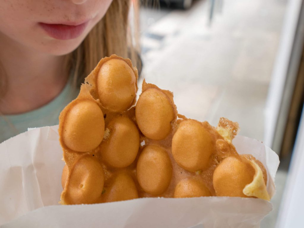 Hong Kong with kids: Eat and egg waffle