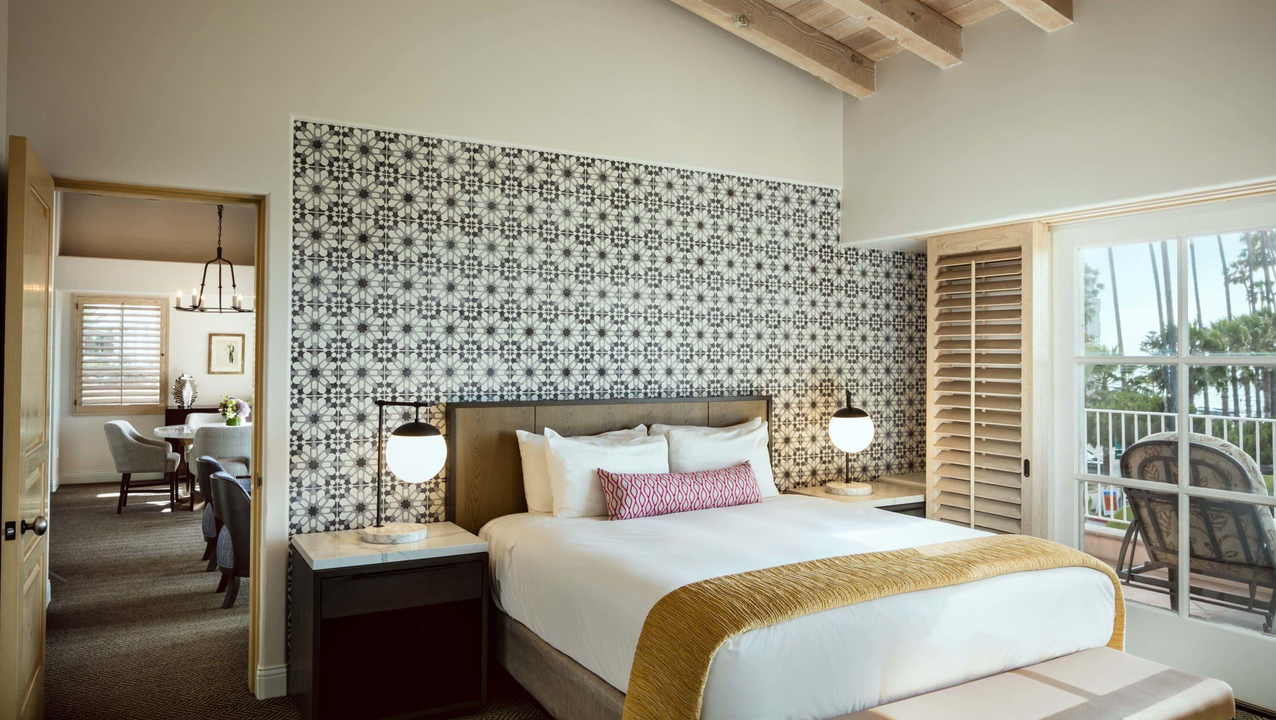 Valencia suite bedroom at La Valencia Hotel La Jolla