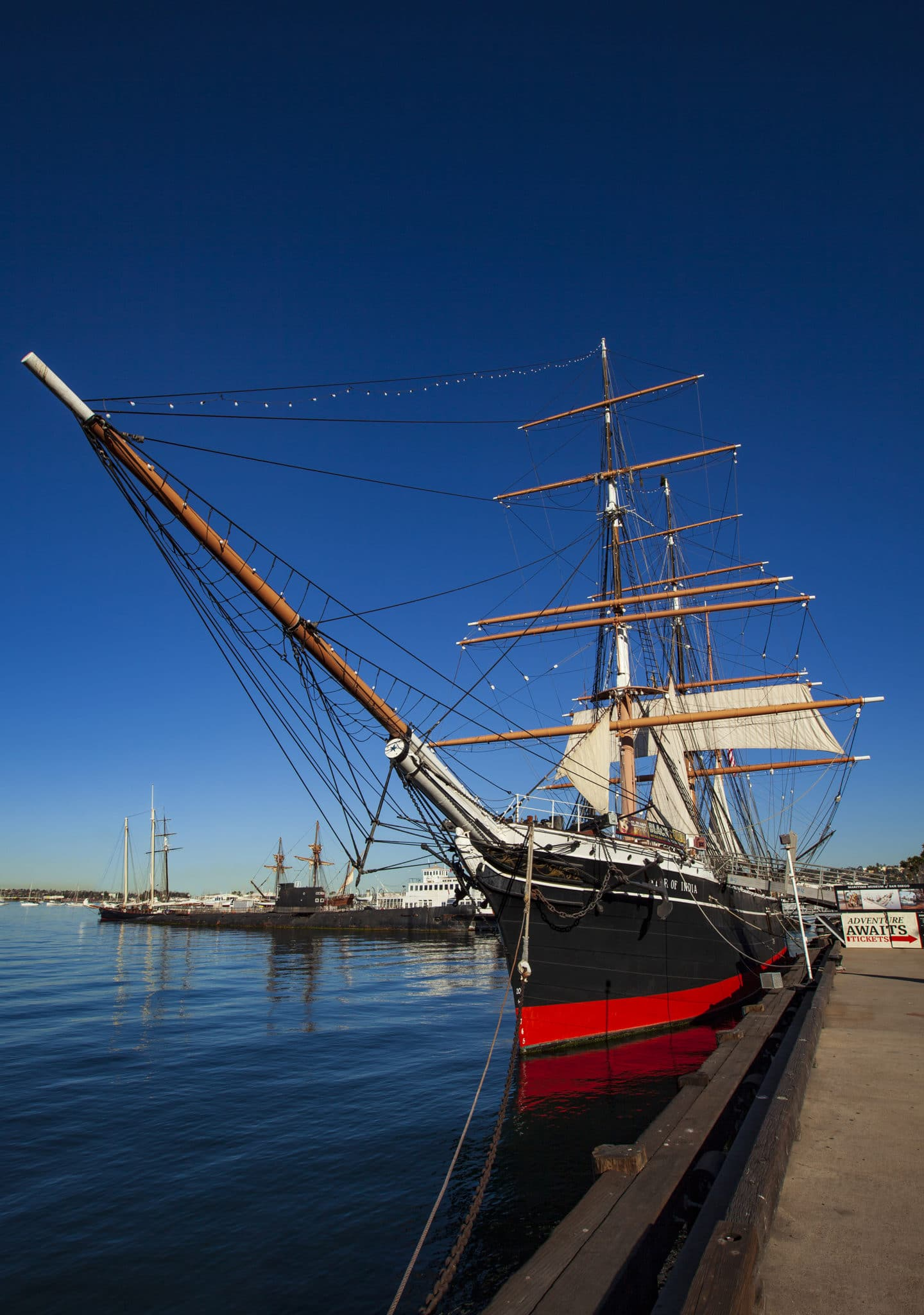 The Star of India Ship in the water at the Maritime Museum of San Diego.