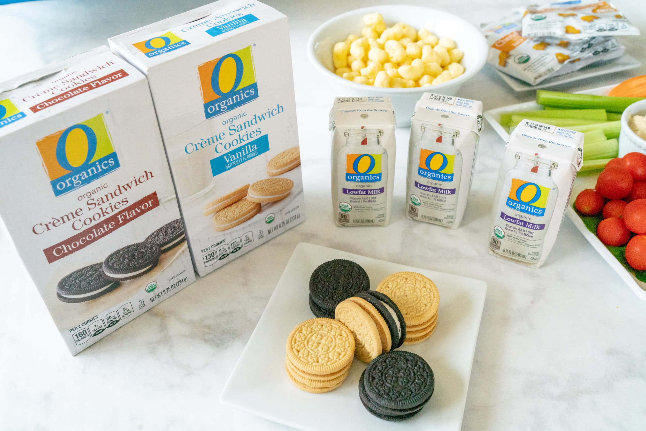 O Organics cookies and milk.
