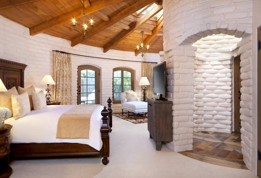 Hacienda bedroom at Rancho Valencia resort in San Diego