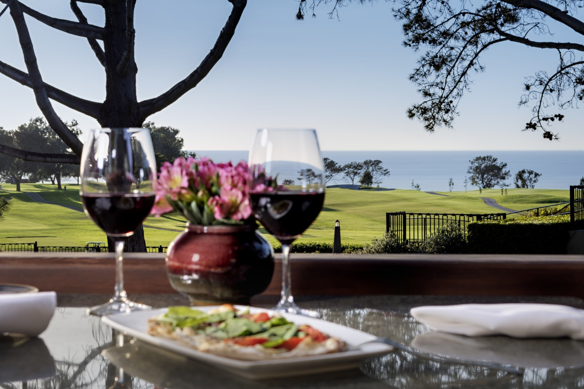 The patio at A.R. Valentien restaurant at The Lodge at Torrey Pines La Jolla.
