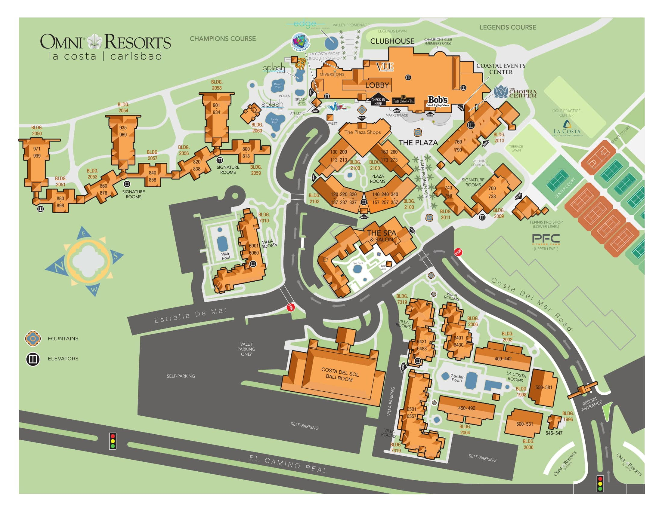 Map of Omni La Costa Resort and Spa