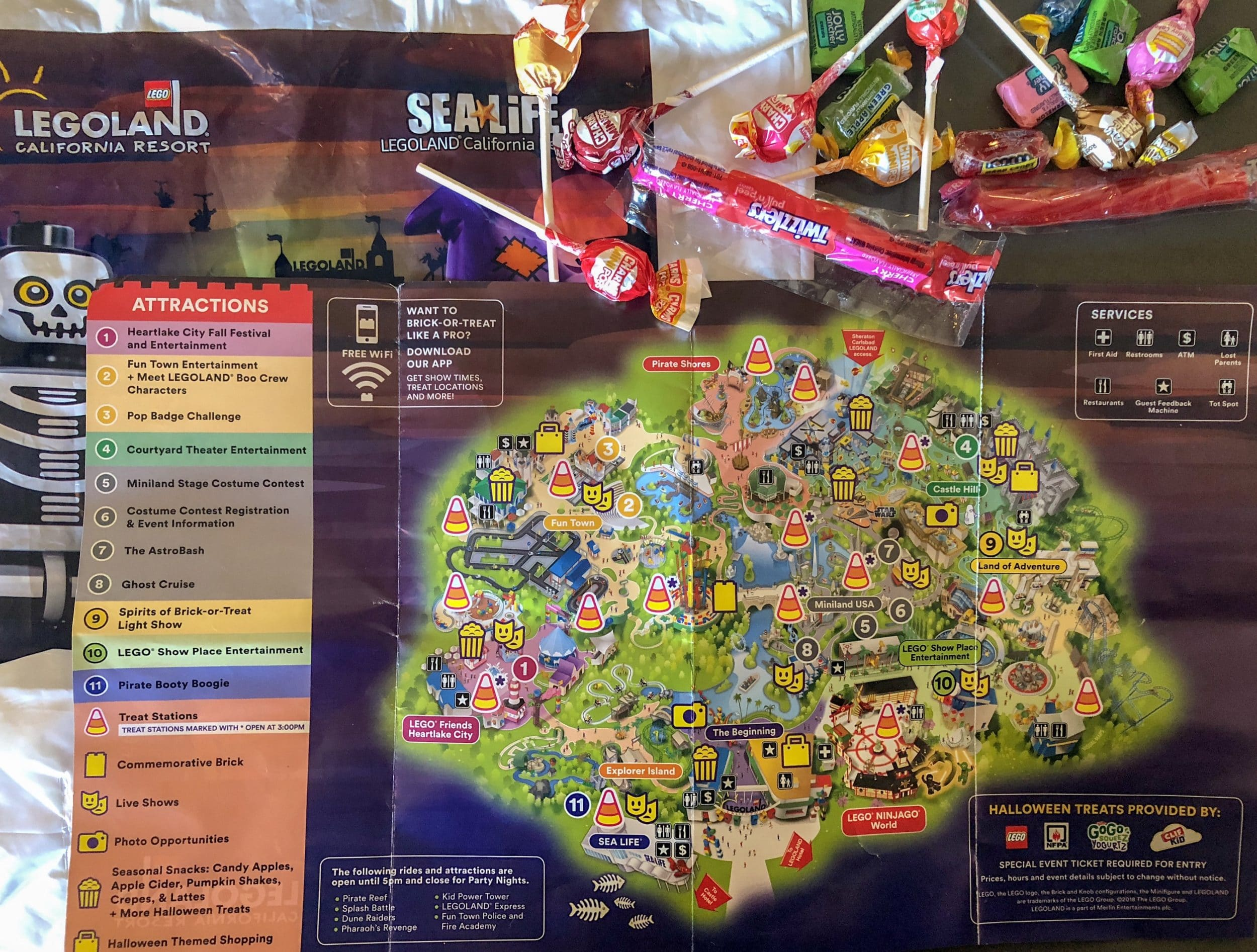 LEGOLAND Brick-or-Treat map and candy