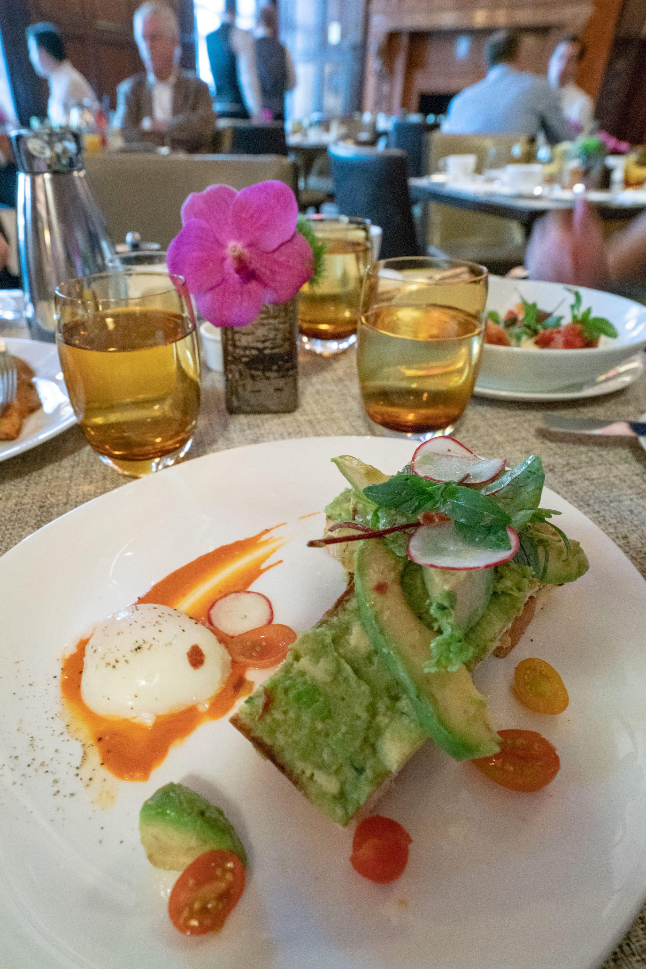 A delicious avocado toast at Villard Restaurant inside Lotte New York Palace