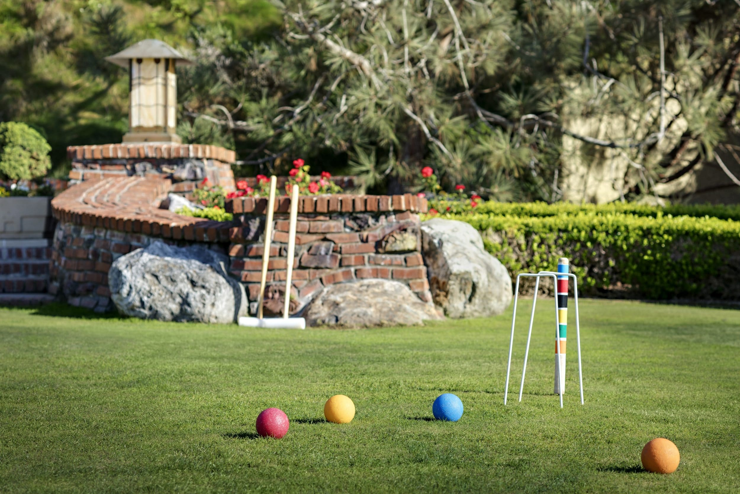 Croquet set up on the lawn at The Lodge at Torrey Pines