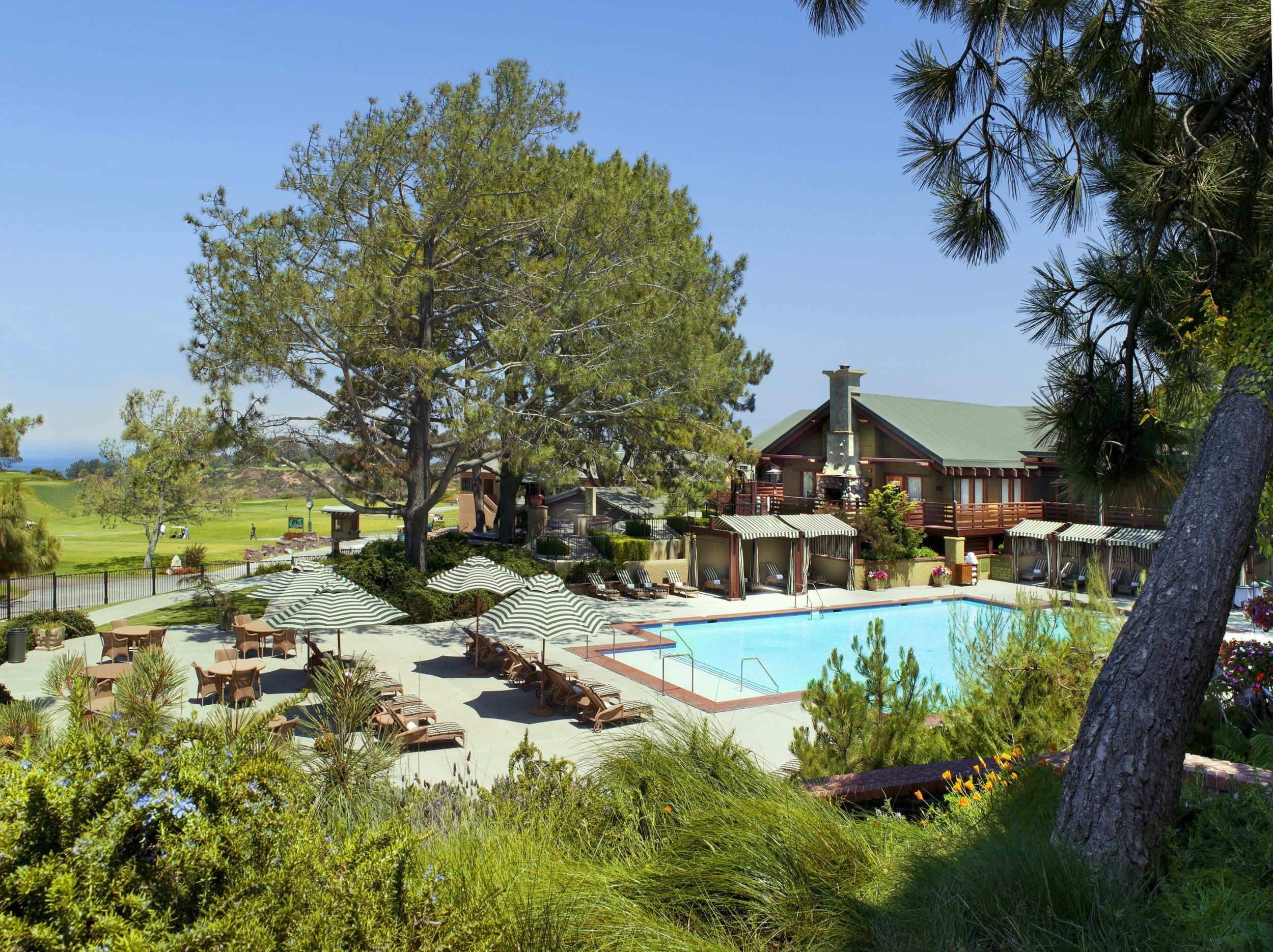 Outdoor swimming pool area at The Lodge at Torrey Pines in La Jolla.