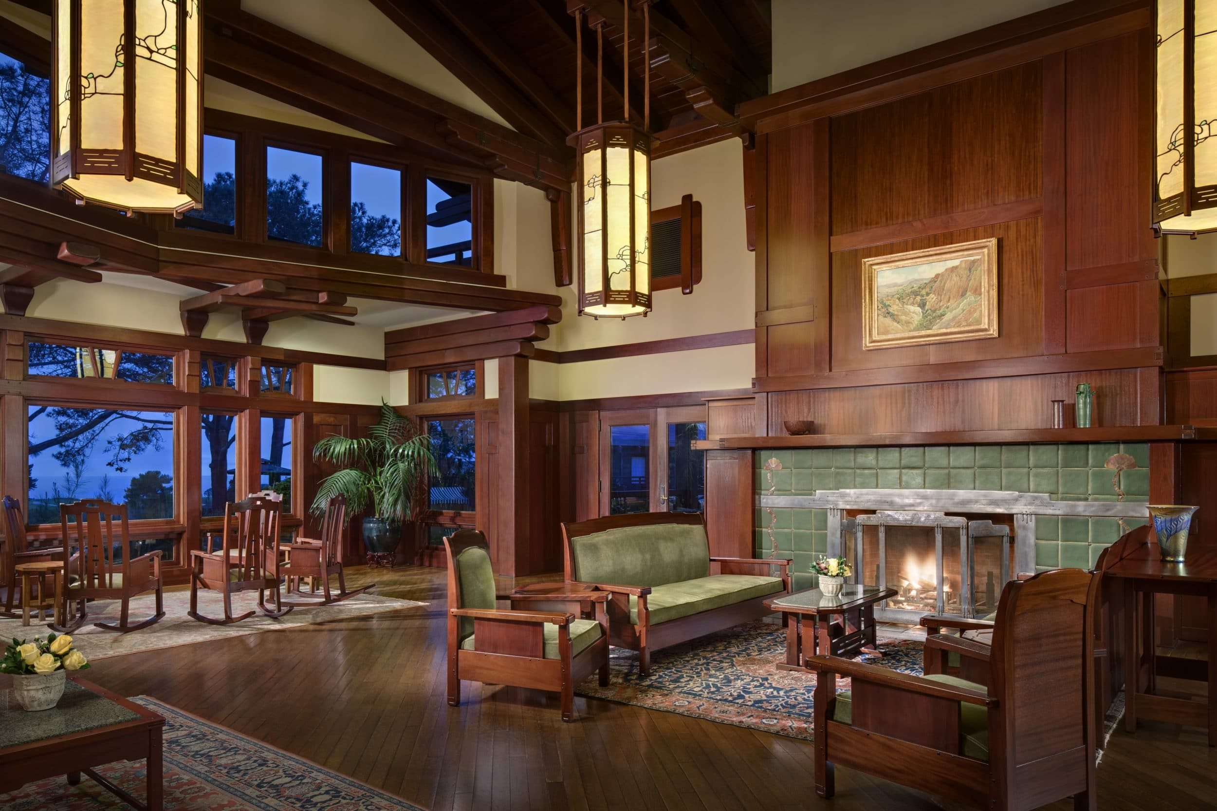 The Lodge at Torrey Pines lobby showcares 1900s California Craftsman-style