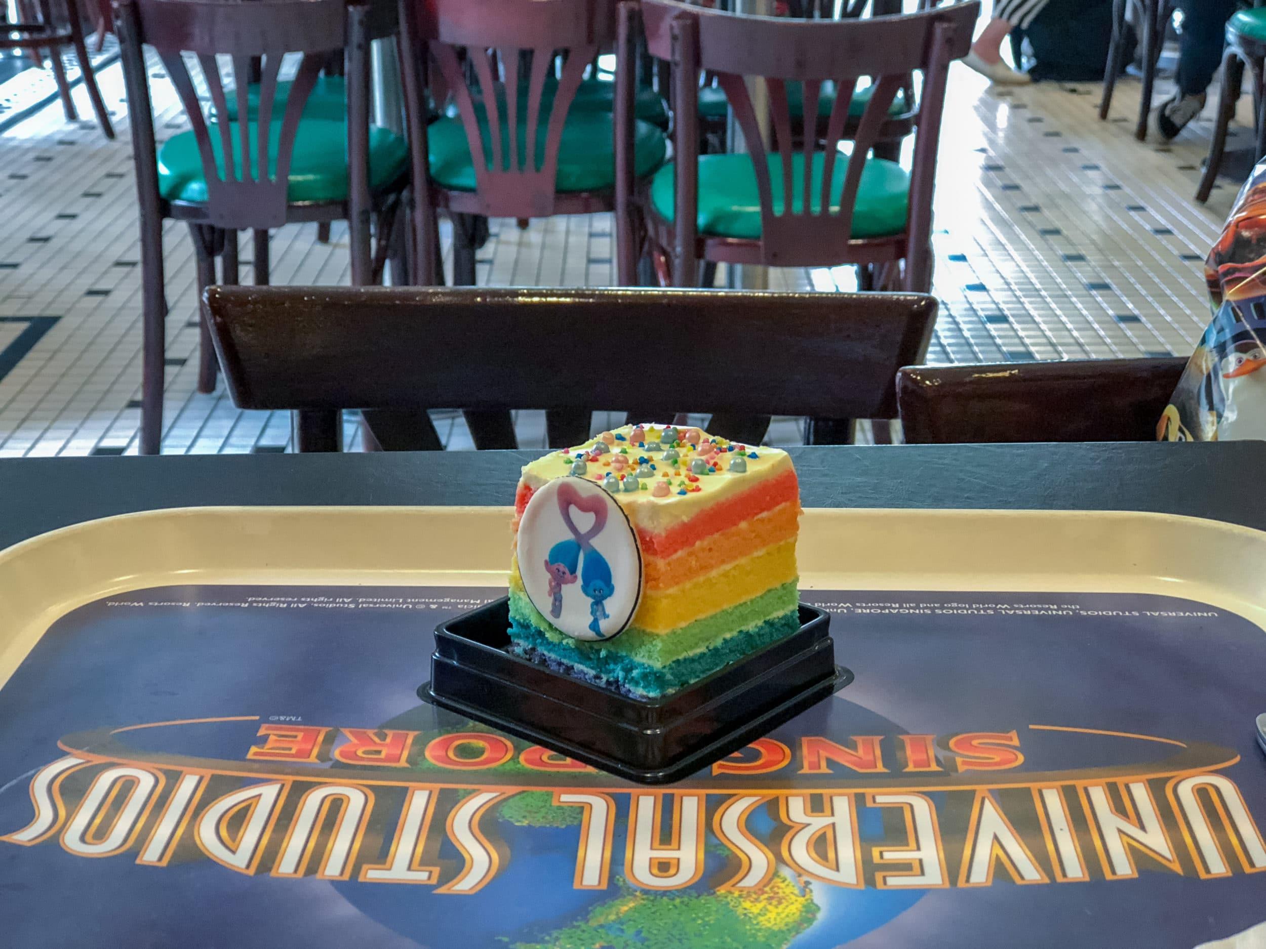 Rainbow cake at Universal Studios Singapore