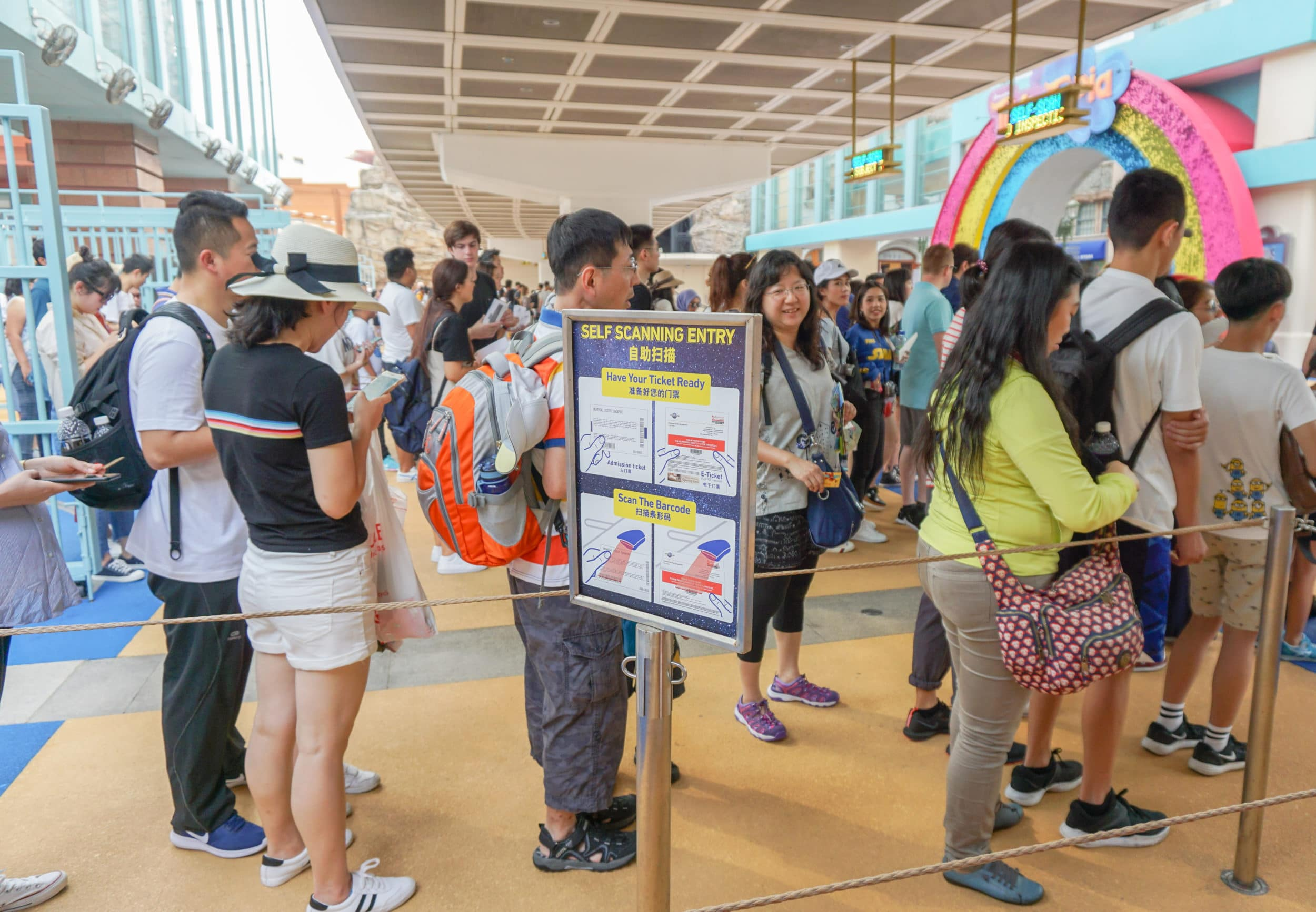 Entrance line for Universal Studios Singapore ticket holders