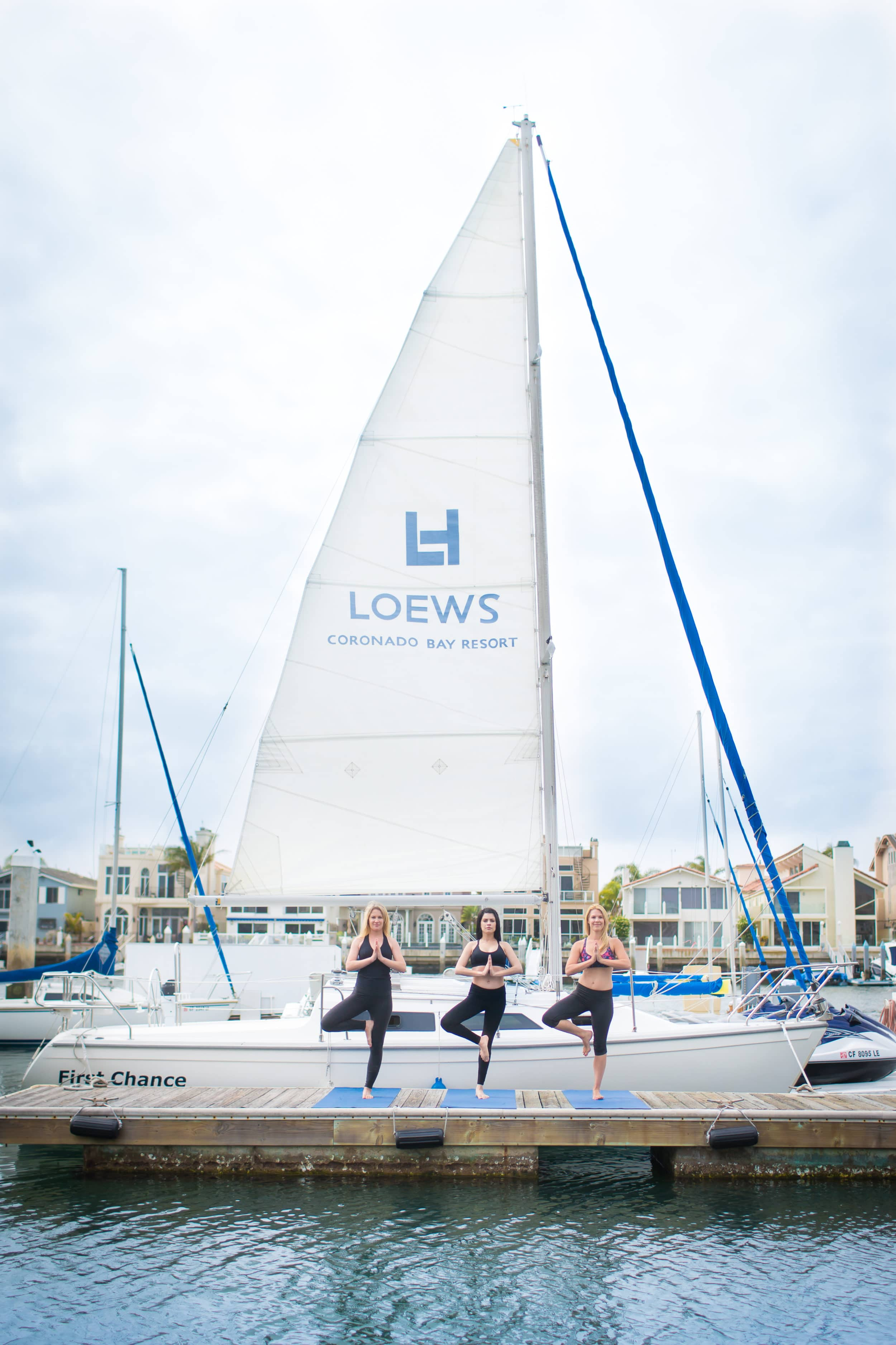 Do yoga on the beach or at the marina at Loews Coronado Bay Resort