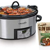 Crock-Pot SCCPVL610-S 6-Quart Programmable Cook and Carry Oval Slow Cooker, Includes One Bonus Campbell's Slow Cooker Sauce