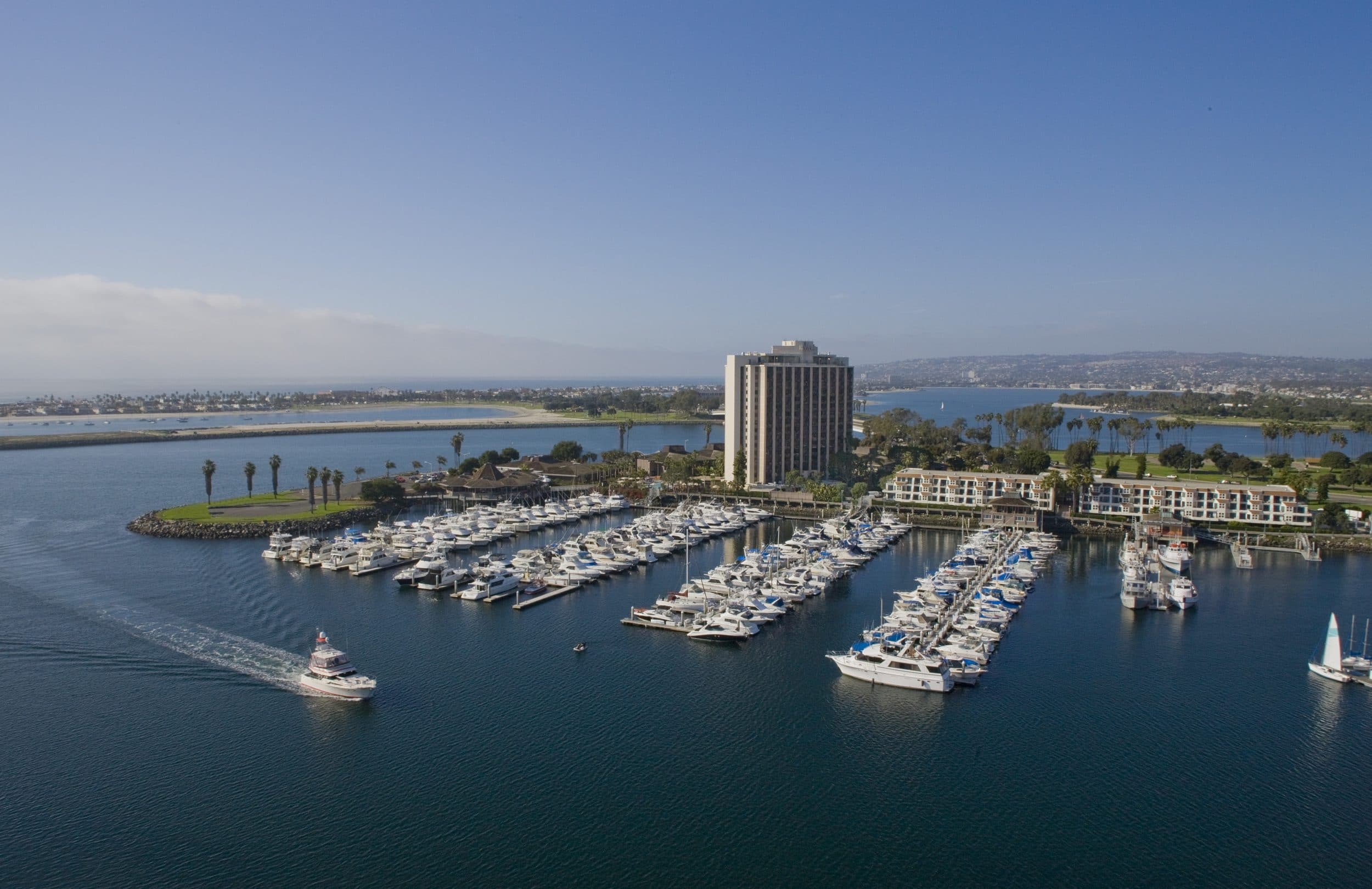 Boats in the marina at Hyatt Regency Mission Bay hotel