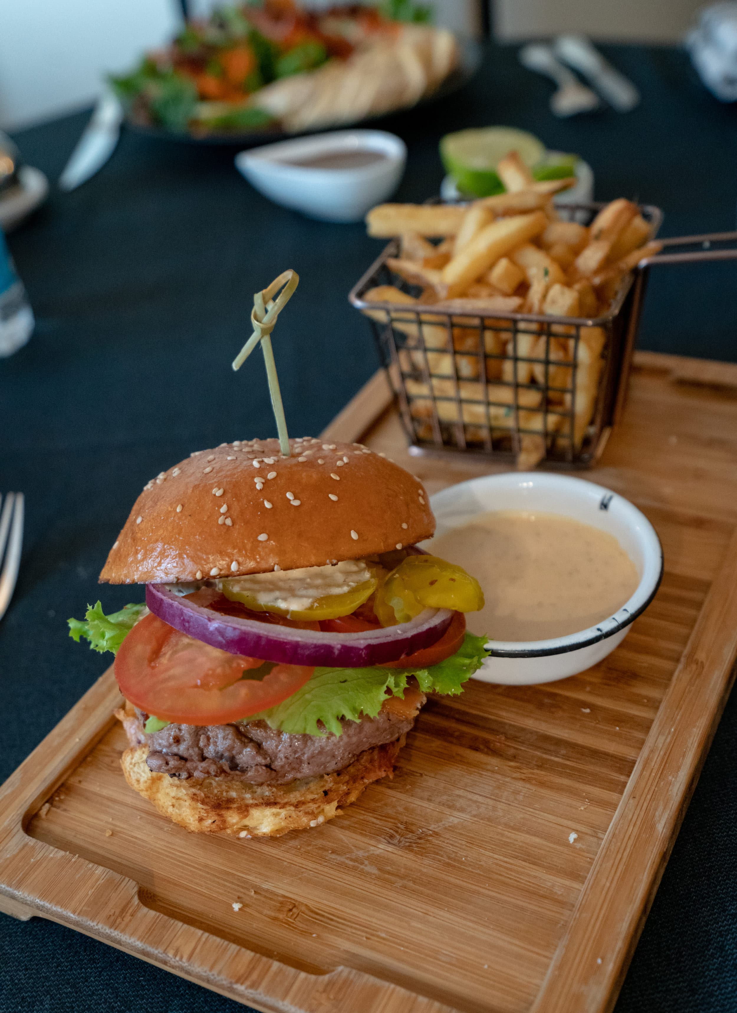 In-room dining burger at Four Seasons Mexico City