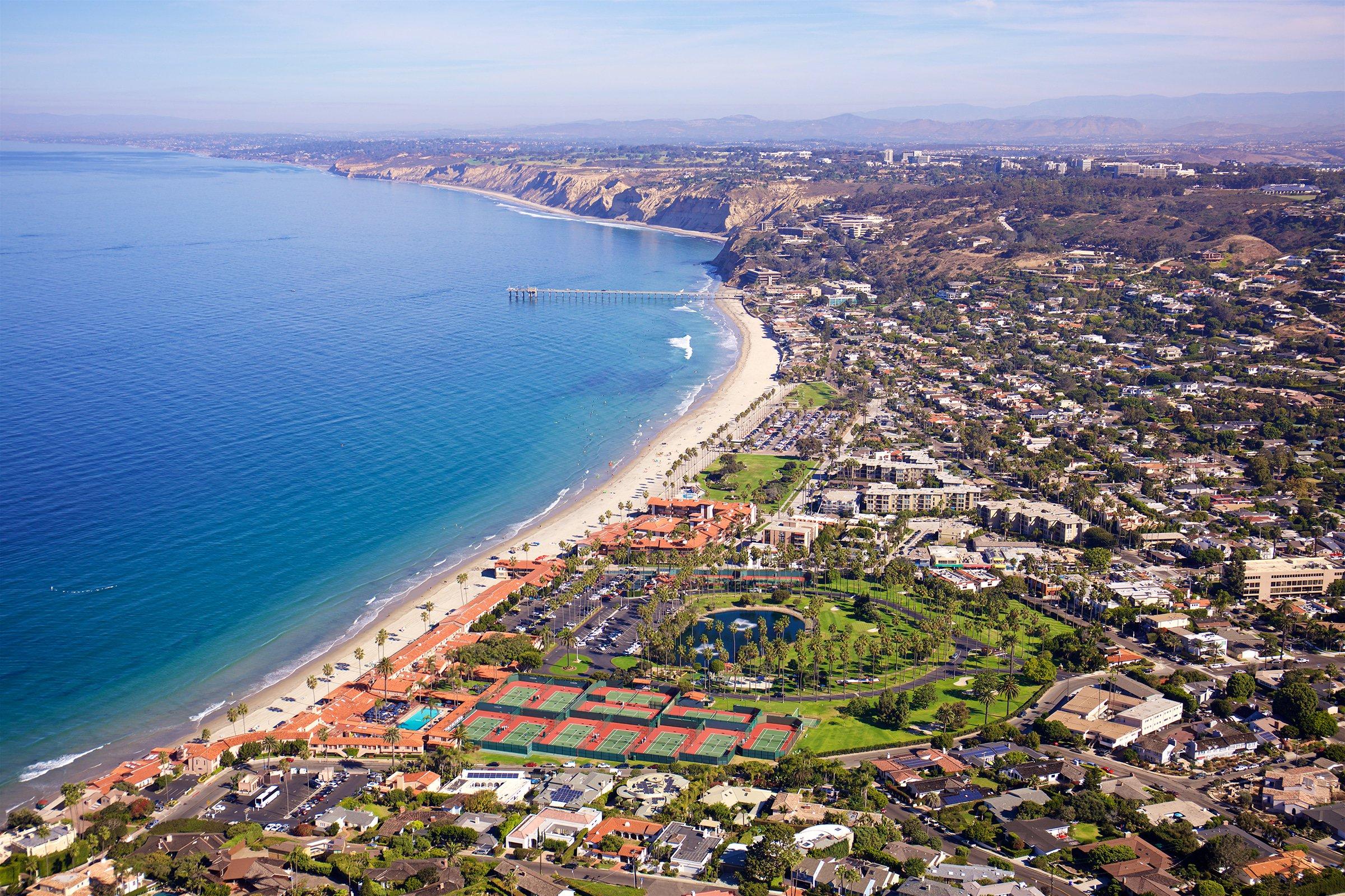 Aerial view of La Jolla Shores neighborhood including LJBTC and La Jolla Shores Hotel