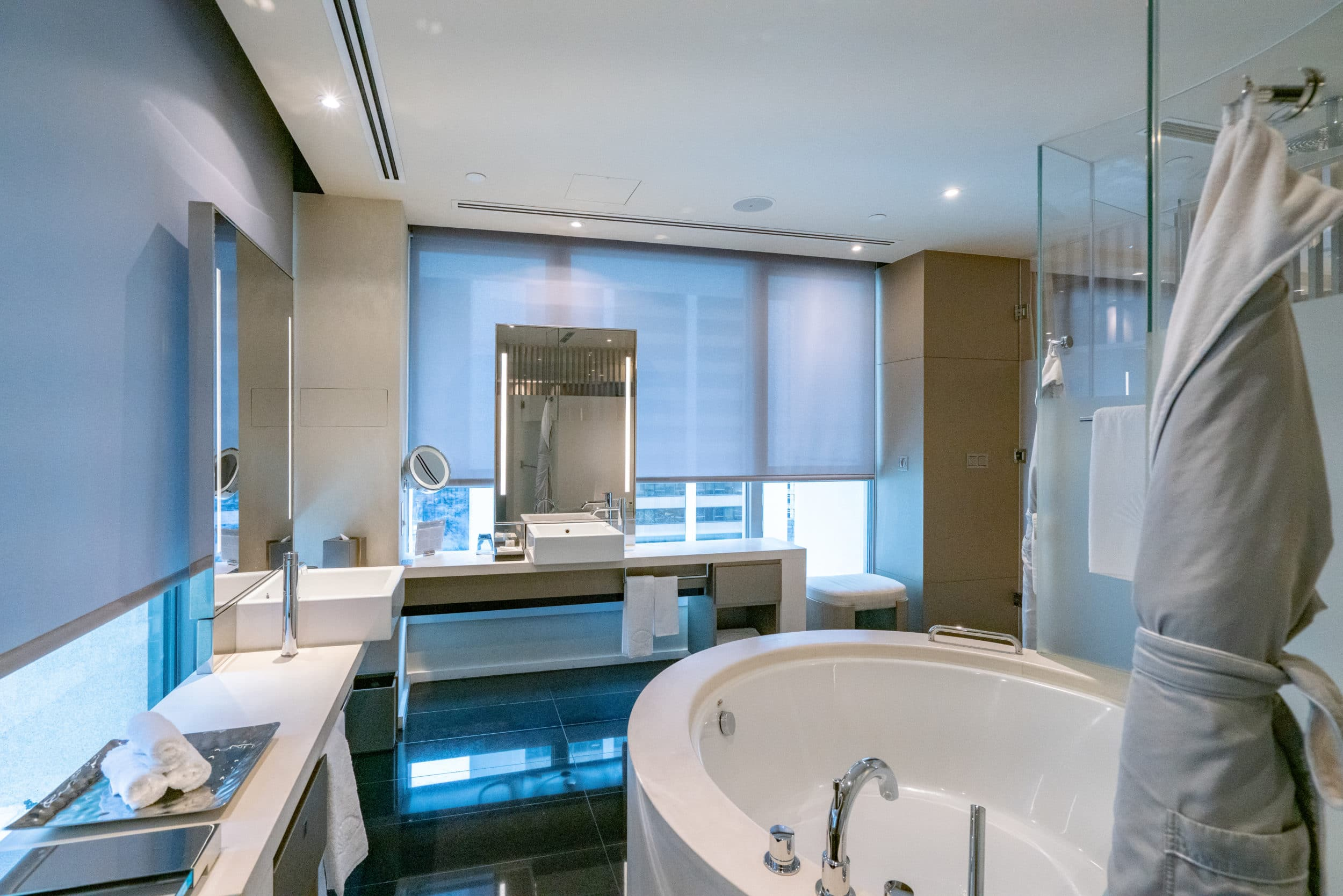 Giant bathroom at The Landmark Mandarin Oriental, Hong Kong