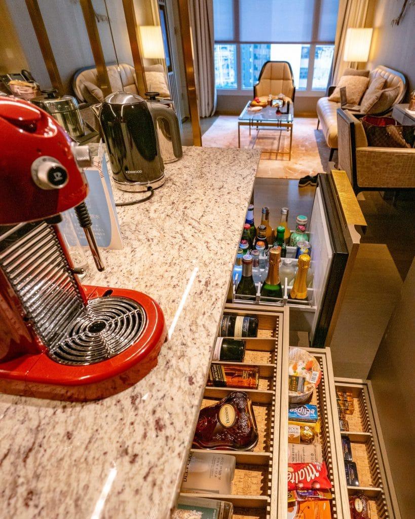 Generous mini bar at The Landmark Mandarin Oriental, Hong Kong hotel