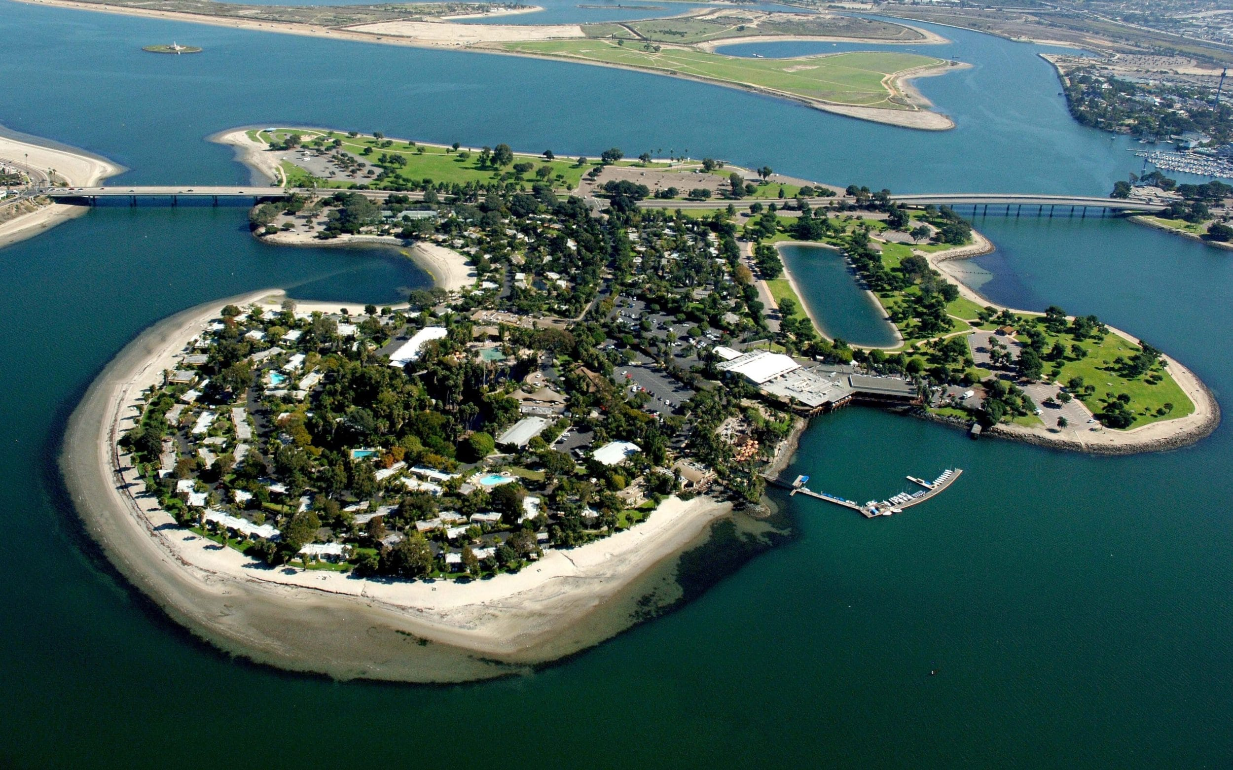 Aerial view of Paradise Point resort on San Diego's Mission Bay
