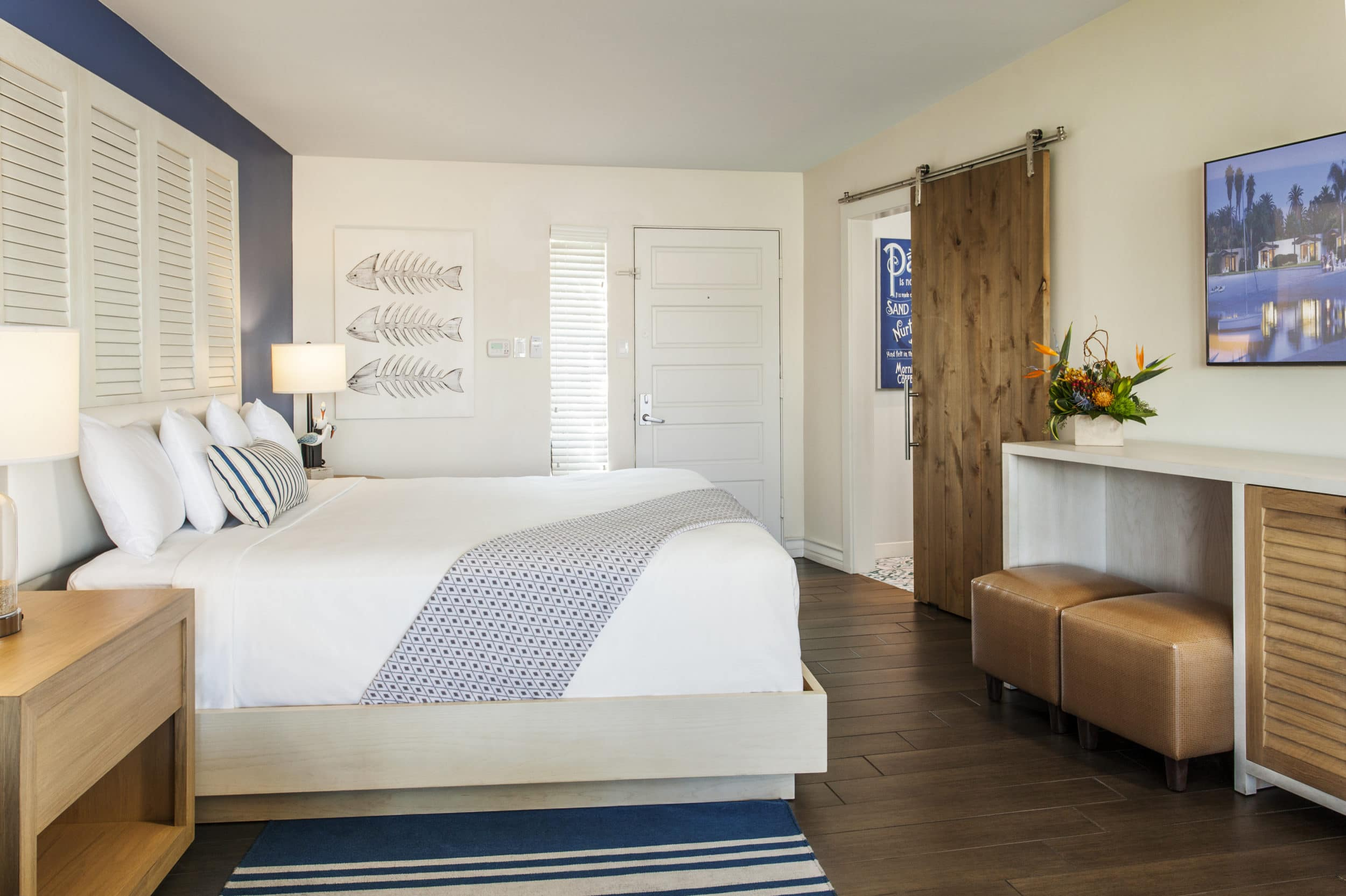 A suite bedroom at Paradise Point San Diego resort on Mission Bay