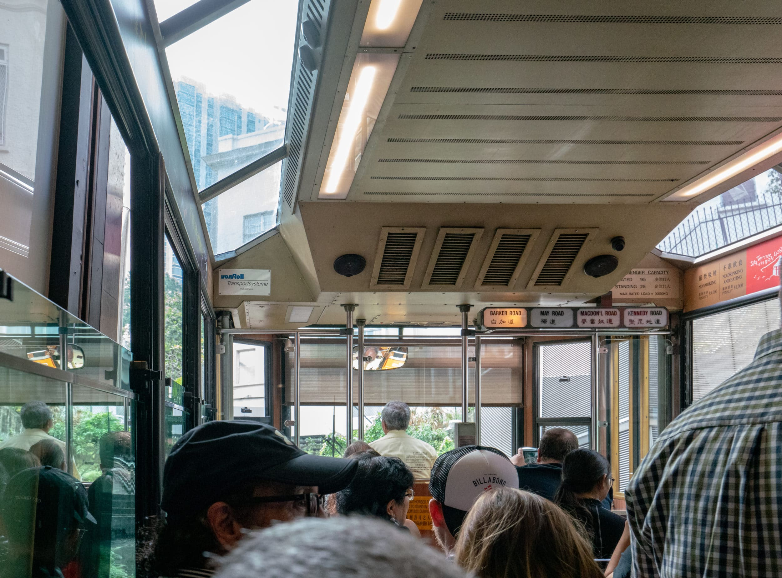 A ride on the Peak Tram uphill to Victoria Peak in Hong Kong