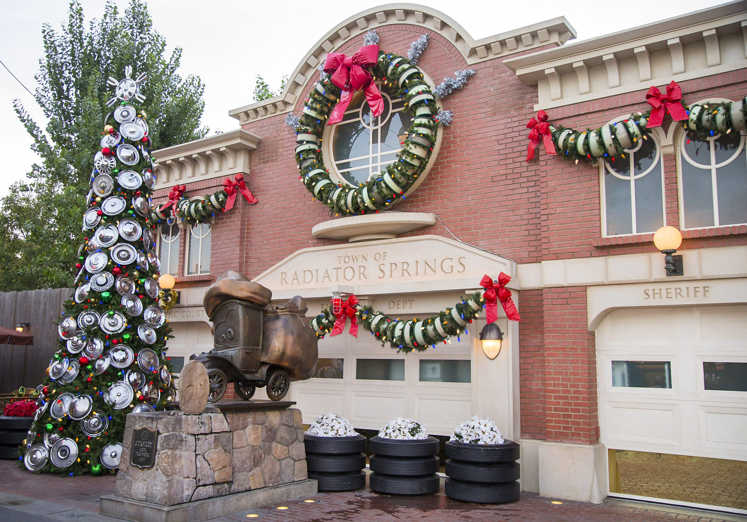 Cars Land holiday decorations at Disney's California Adventure park