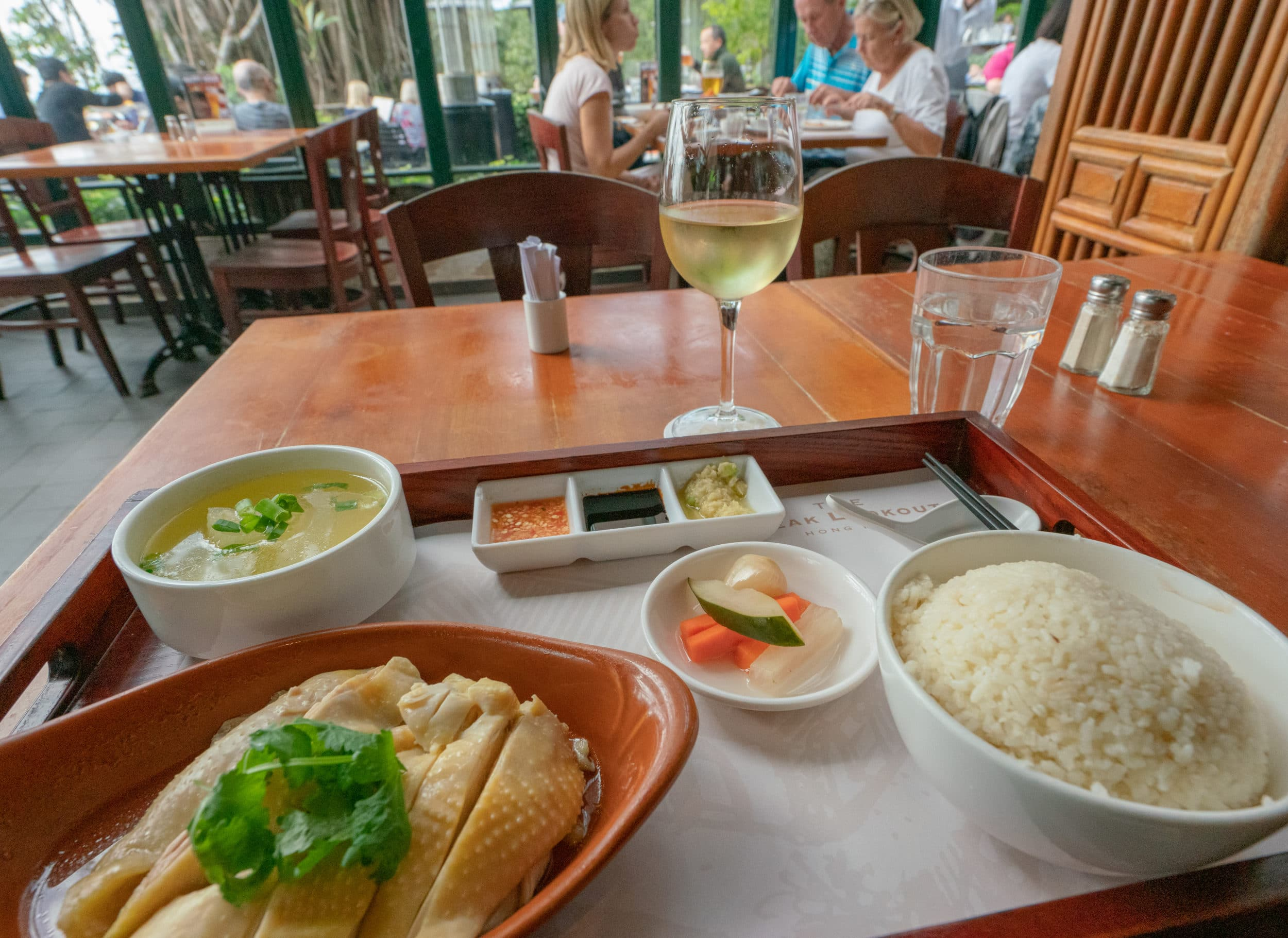 Hainanese Chicken at The Peak Lookout restaurant in Hong Kong