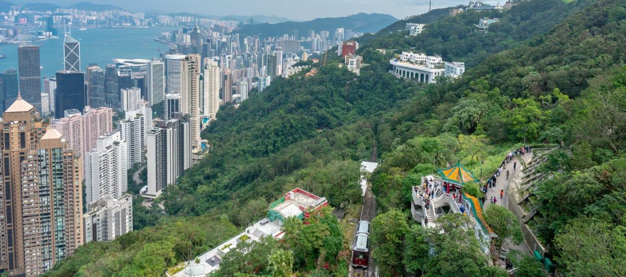 The Peak Tram, a popular Hong Kong attraction