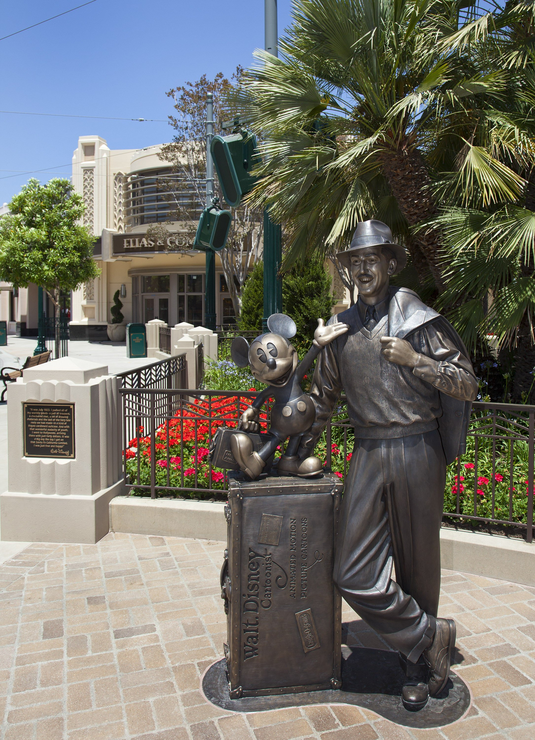 "As part of the newly unveiled entryway to Disney California Adventure park, ""Storytellers,"" a new bronze statue of a young Walt Disney and his most famous creation, Mickey Mouse, can be found where Carthay Circle meets Buena Vista Street. The stunning statue reflects the optimistic outlook of Walt Disney upon his arrival in California in 1923"