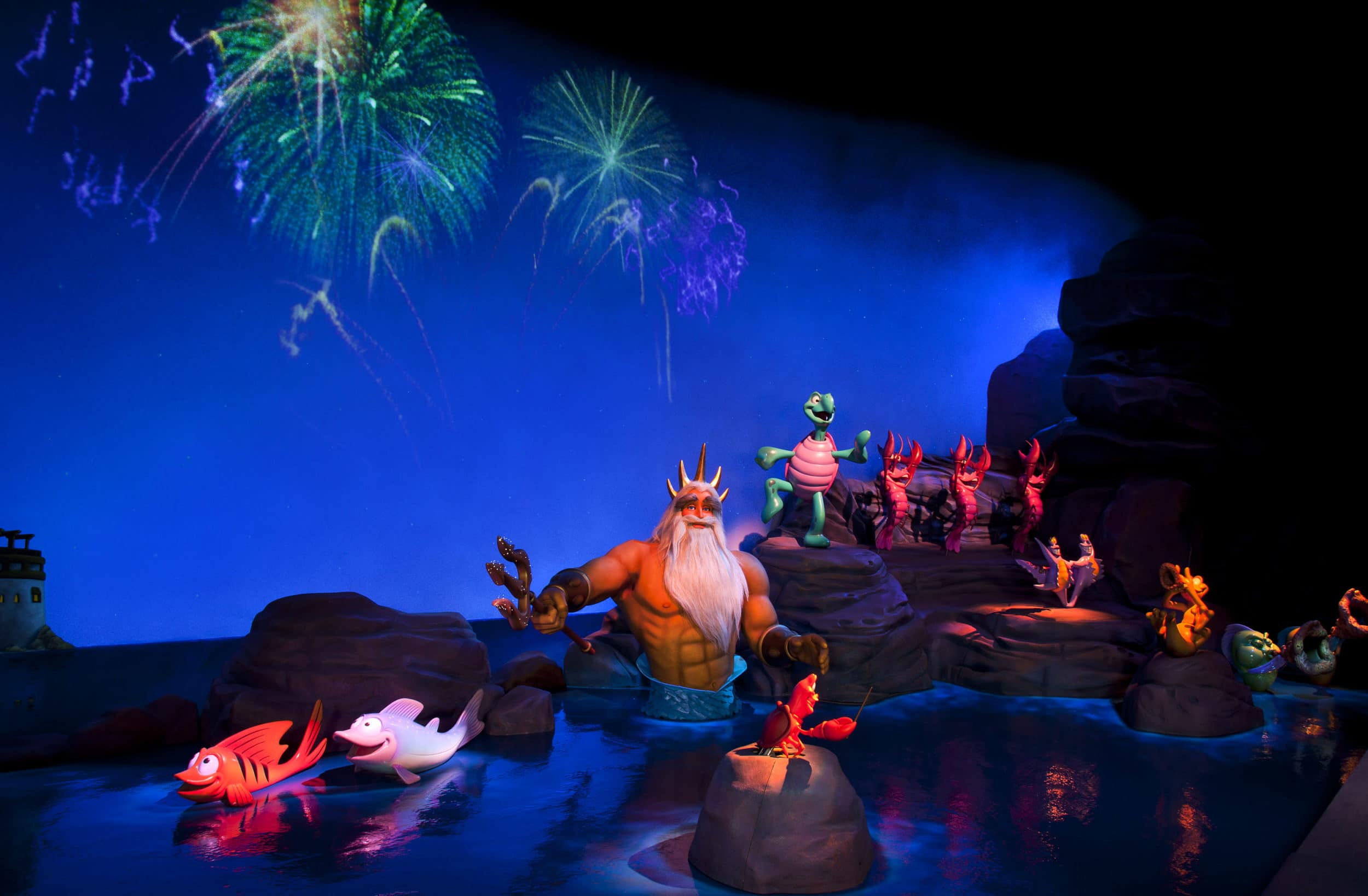 Disney California Adventure: The Little Mermaid ~ Ariel's Undersea Adventure, Happily Ever After scene with King Triton