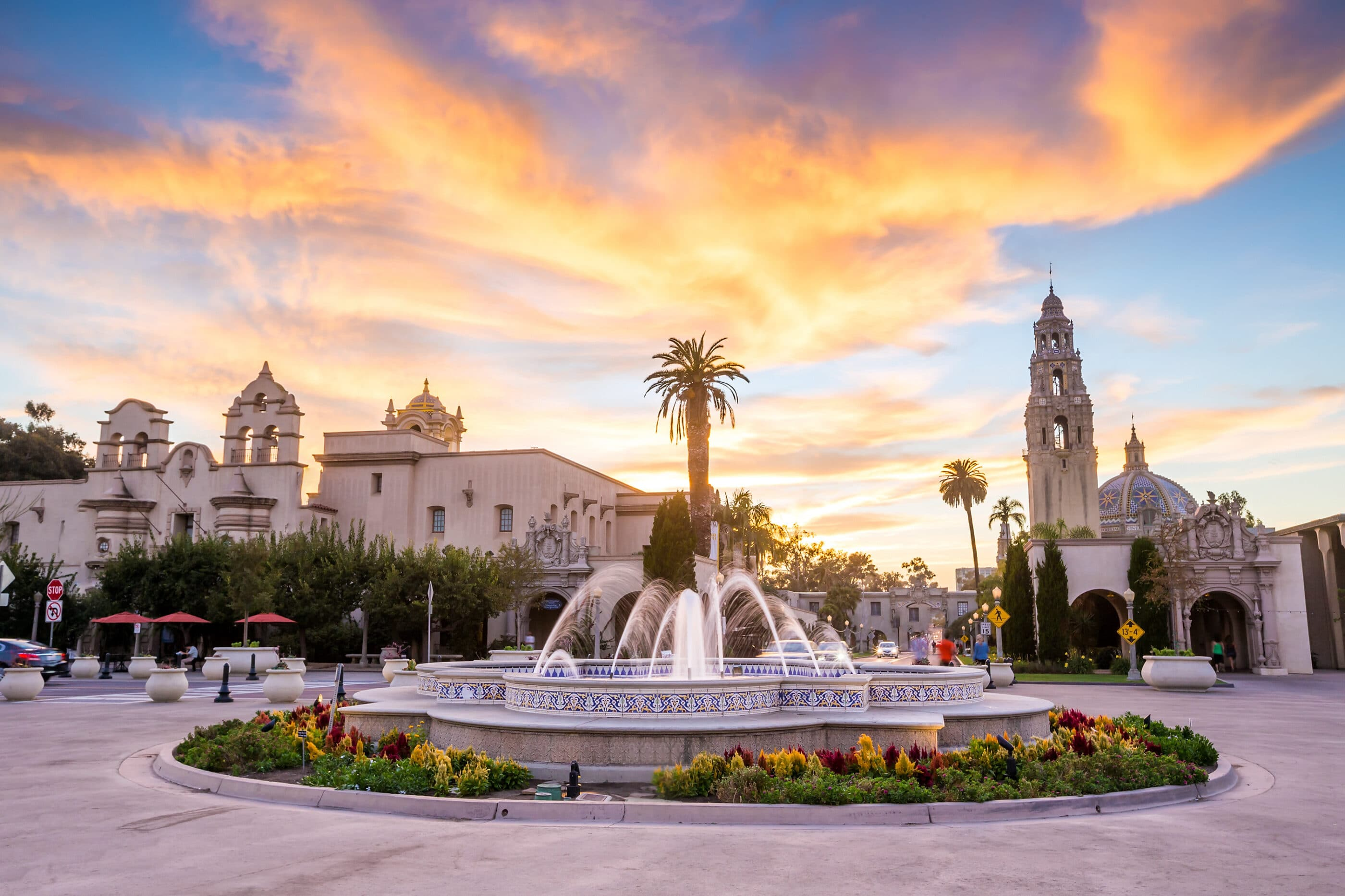 Balboa Park at dusk — How to save money on tickets to San Diego attractions.