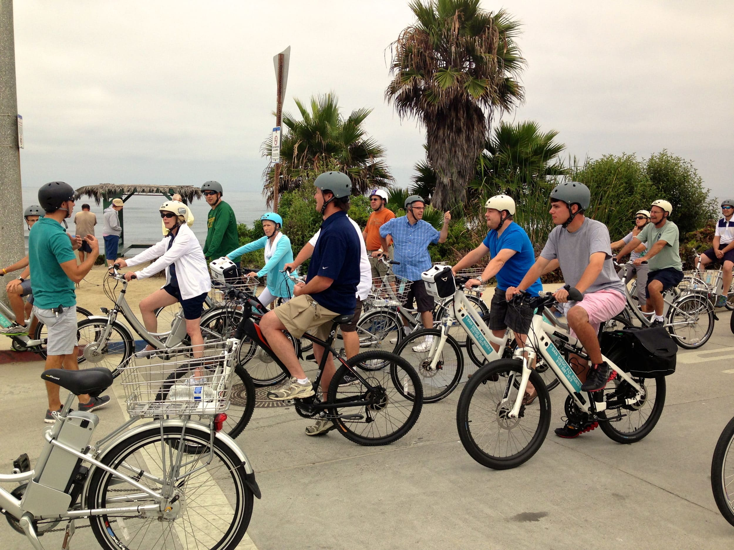 A group heads out on an electric bike tour in San Diego.