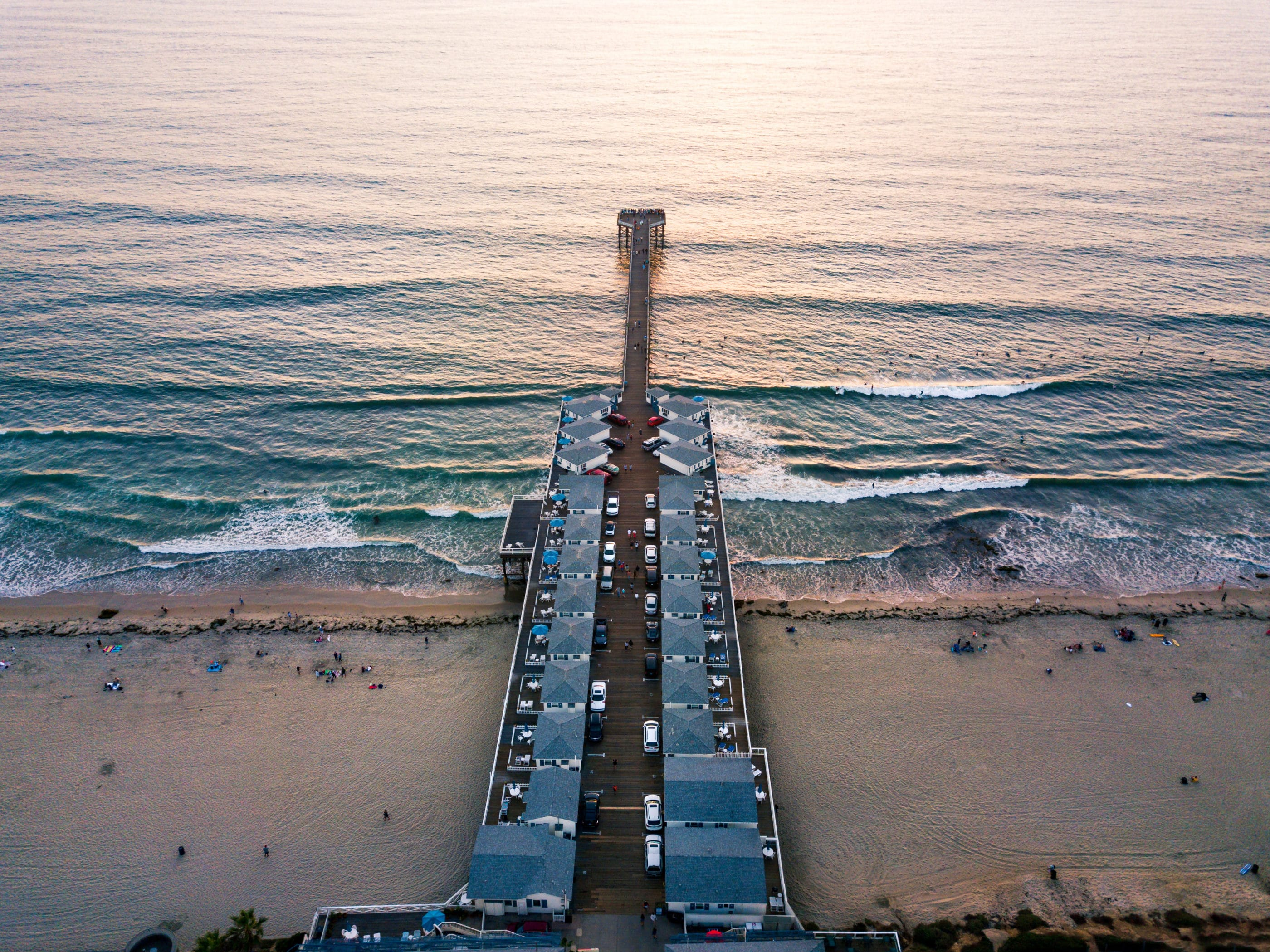 Aerial view of Crystal Pier in Pacific Beach San Diego