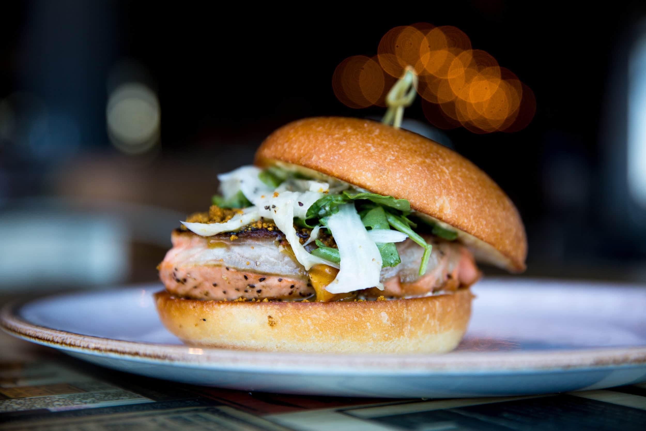 Best Mission Beach restaurants: Draft salmon burger